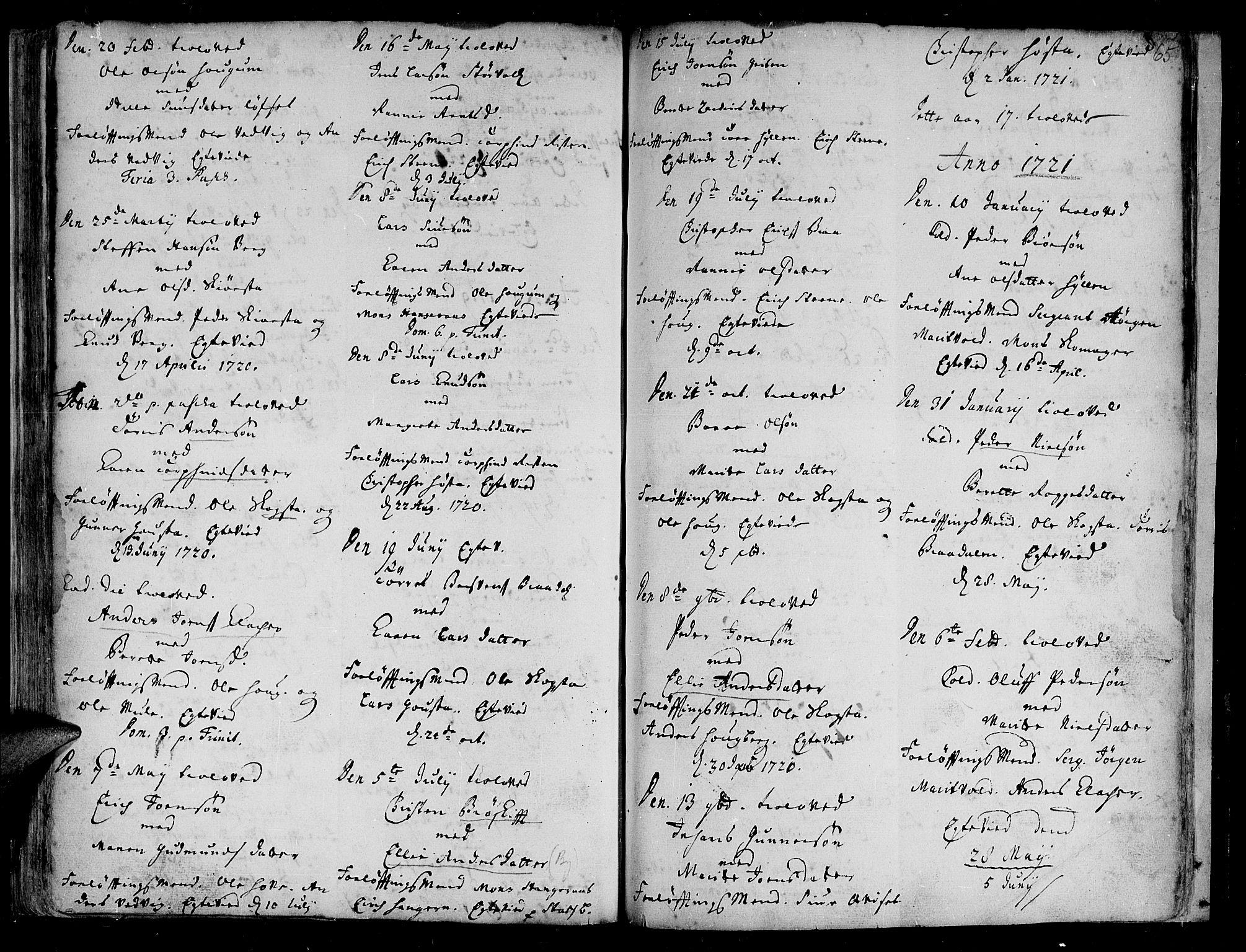 SAT, Ministerialprotokoller, klokkerbøker og fødselsregistre - Sør-Trøndelag, 612/L0368: Ministerialbok nr. 612A02, 1702-1753, s. 65