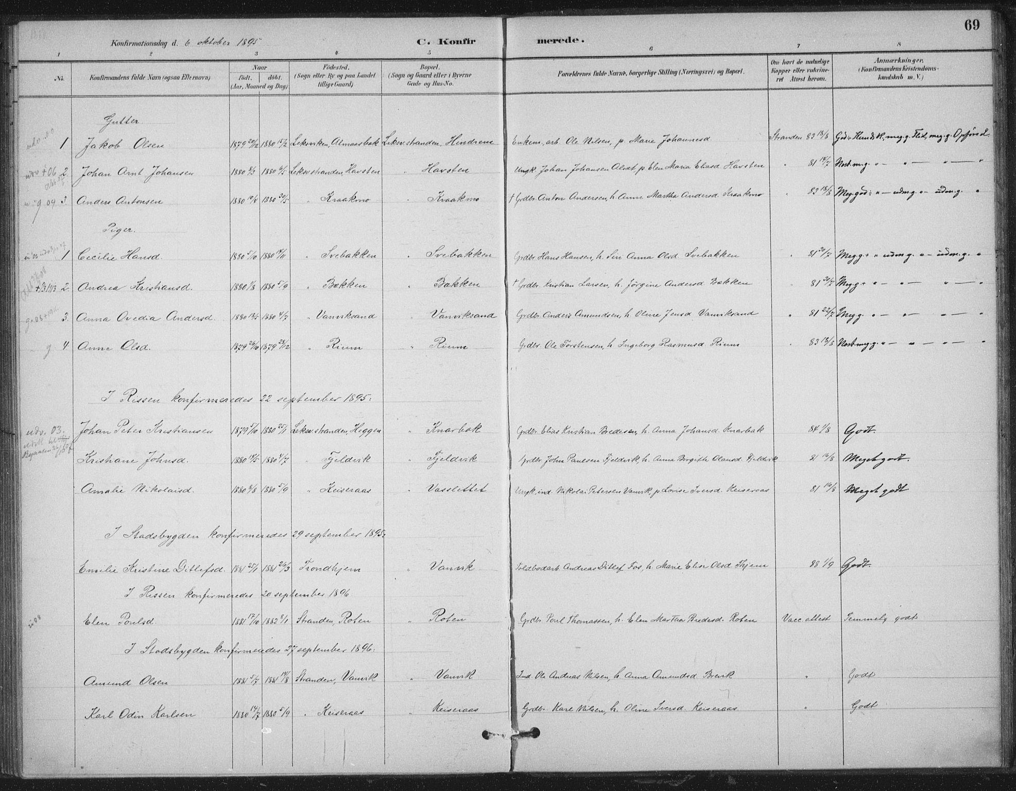 SAT, Ministerialprotokoller, klokkerbøker og fødselsregistre - Nord-Trøndelag, 702/L0023: Ministerialbok nr. 702A01, 1883-1897, s. 69