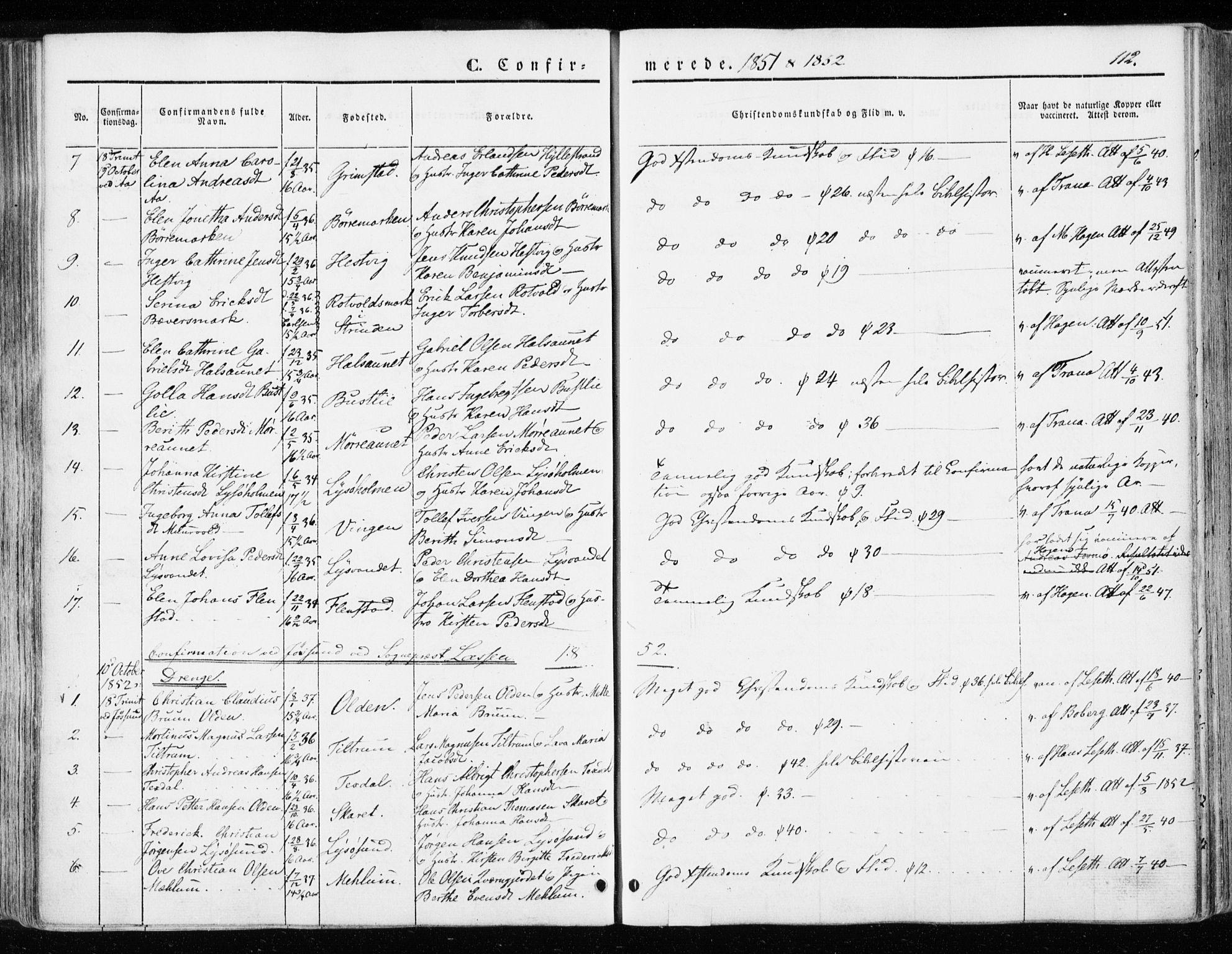 SAT, Ministerialprotokoller, klokkerbøker og fødselsregistre - Sør-Trøndelag, 655/L0677: Ministerialbok nr. 655A06, 1847-1860, s. 112