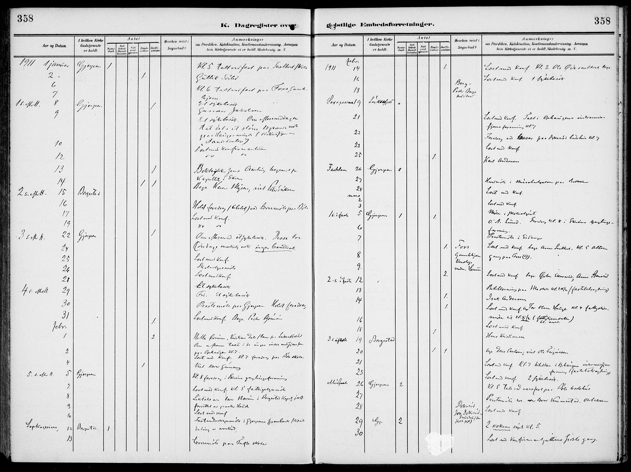 SAKO, Gjerpen kirkebøker, F/Fa/L0012: Ministerialbok nr. 12, 1905-1913, s. 358