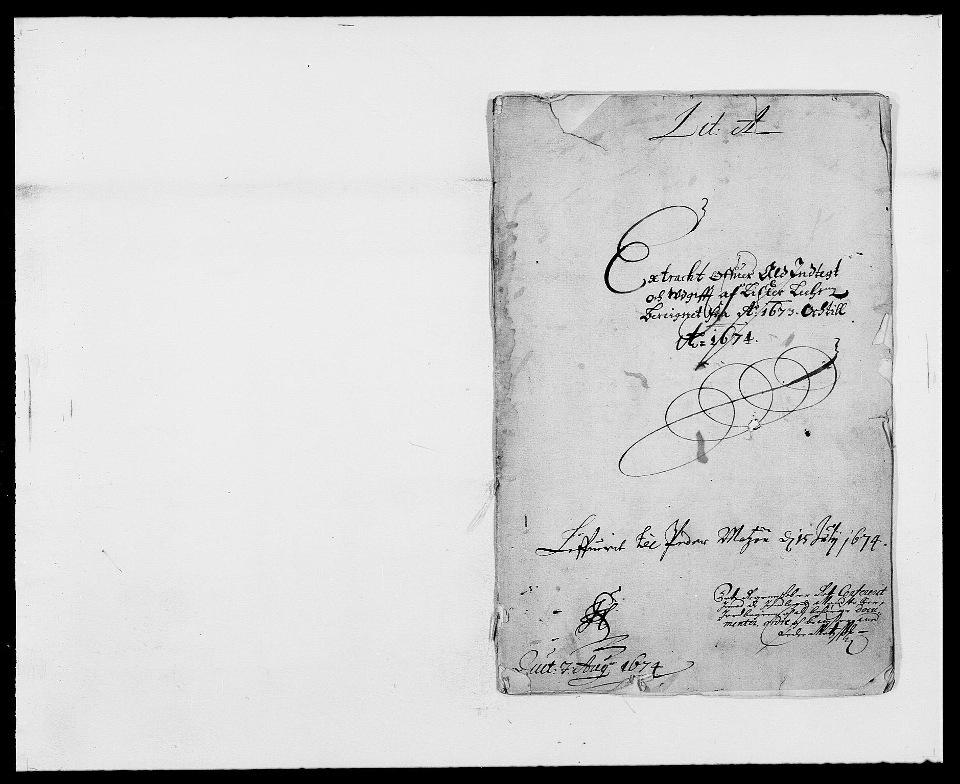 RA, Rentekammeret inntil 1814, Reviderte regnskaper, Fogderegnskap, R41/L2528: Fogderegnskap Lista, 1673-1674, s. 1