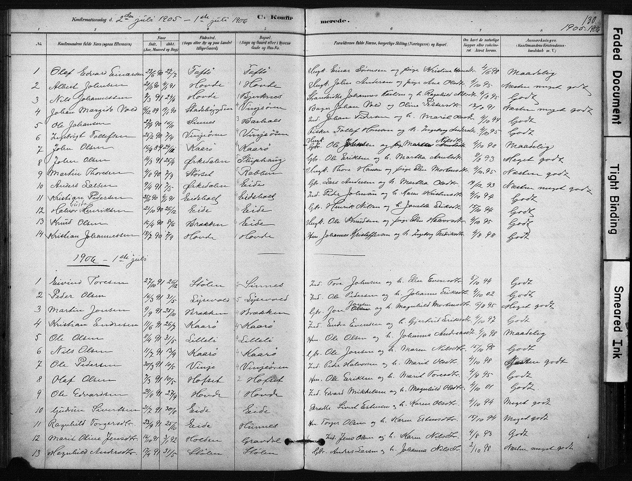SAT, Ministerialprotokoller, klokkerbøker og fødselsregistre - Sør-Trøndelag, 631/L0512: Ministerialbok nr. 631A01, 1879-1912, s. 130