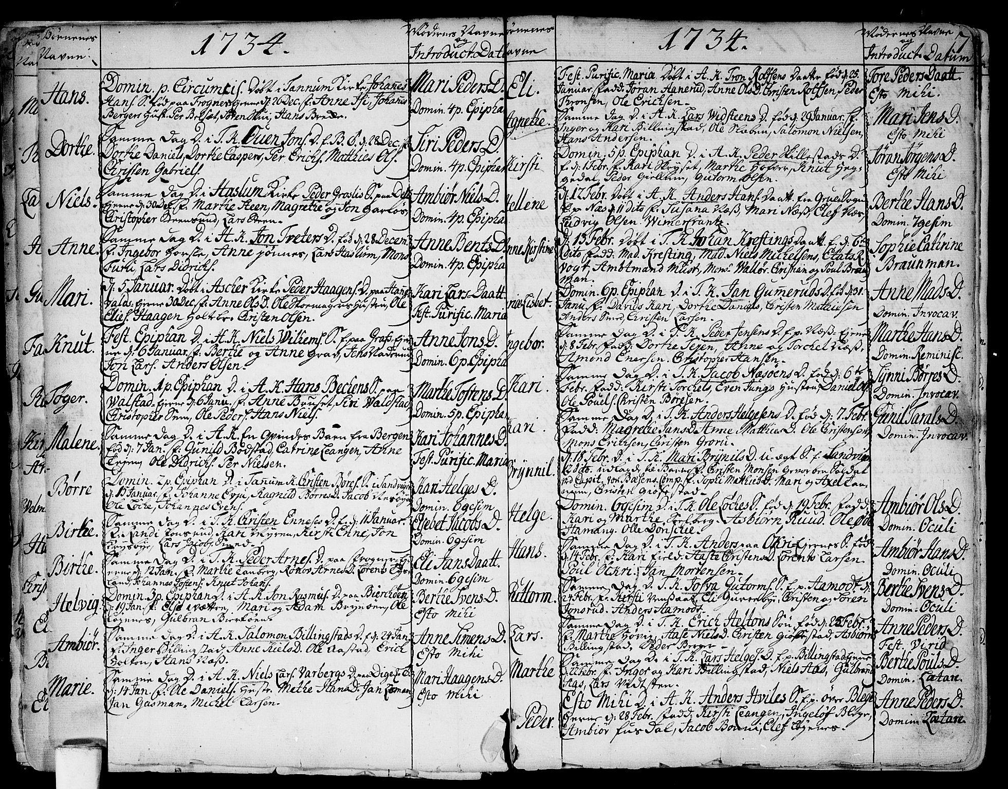 SAO, Asker prestekontor Kirkebøker, F/Fa/L0002: Ministerialbok nr. I 2, 1733-1766, s. 7