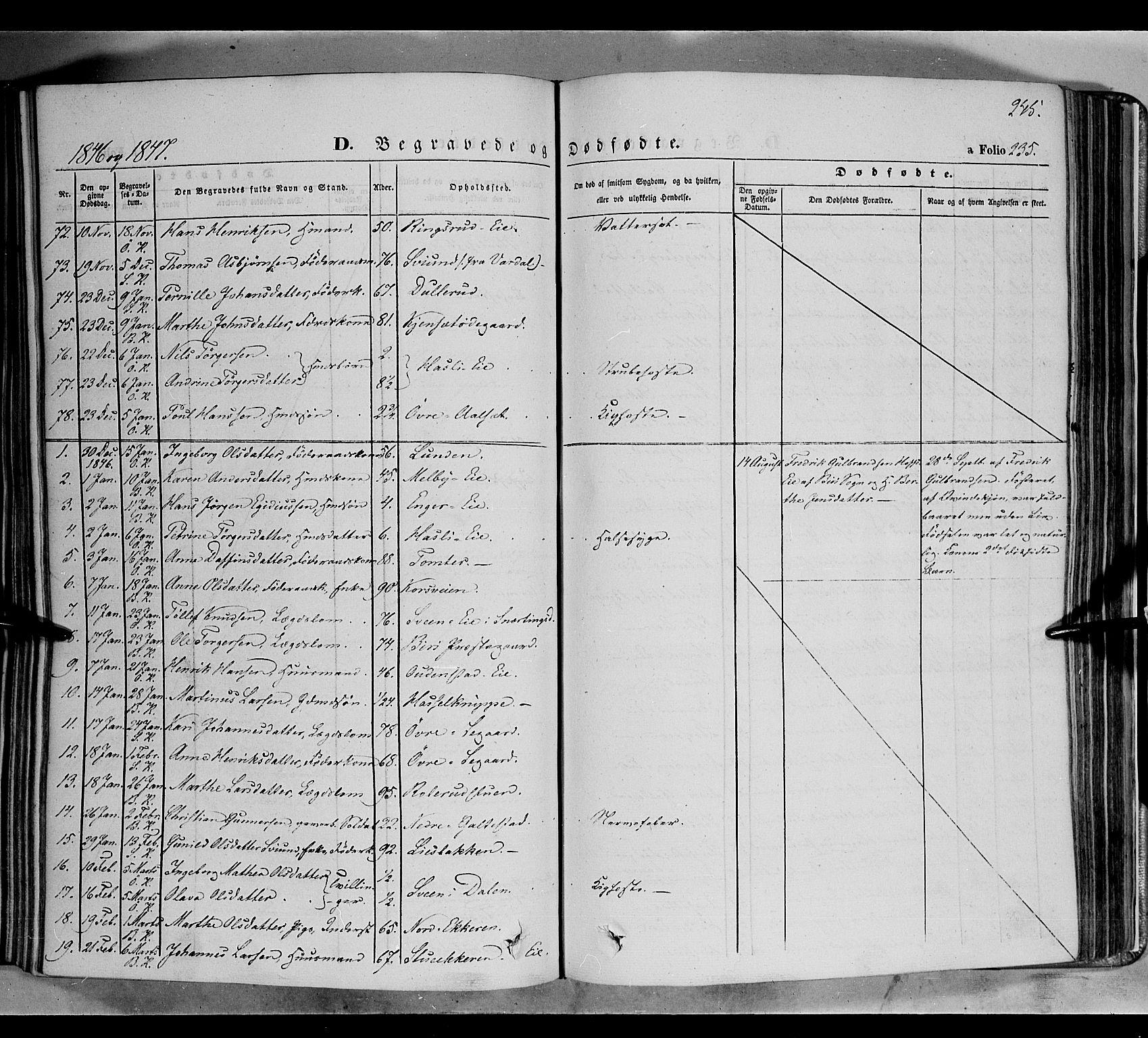 SAH, Biri prestekontor, Ministerialbok nr. 5, 1843-1854, s. 245
