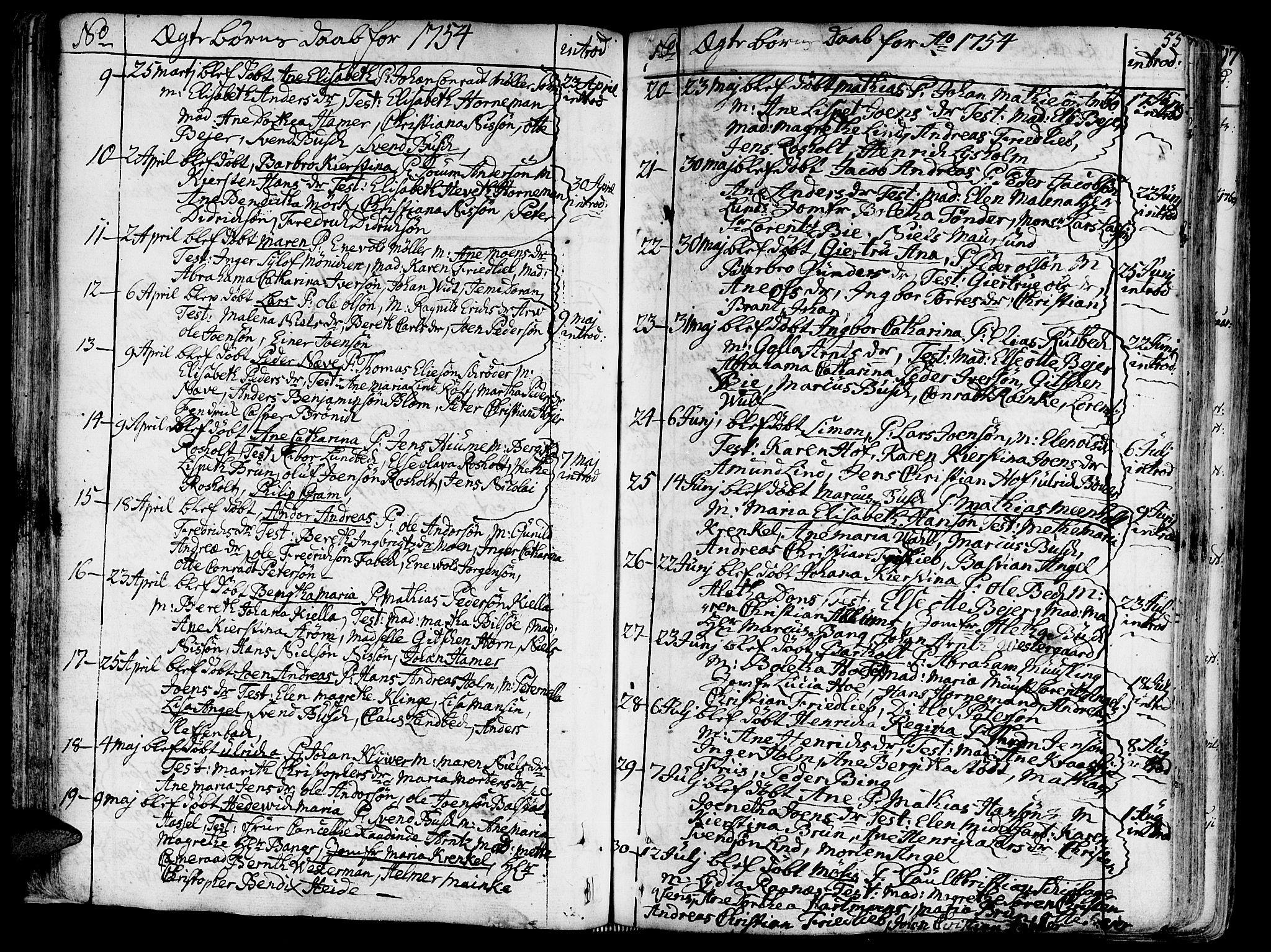 SAT, Ministerialprotokoller, klokkerbøker og fødselsregistre - Sør-Trøndelag, 602/L0103: Ministerialbok nr. 602A01, 1732-1774, s. 55