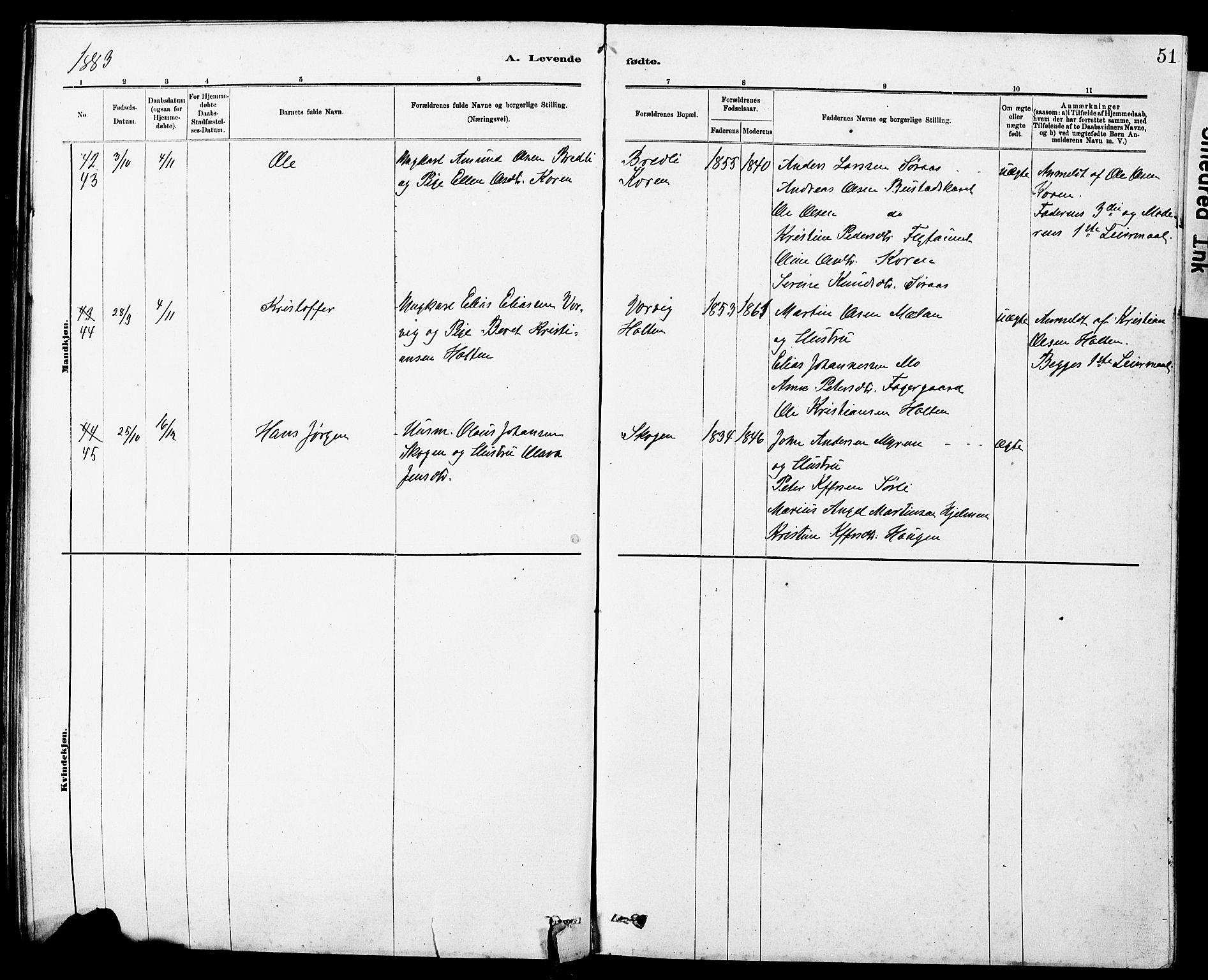 SAT, Ministerialprotokoller, klokkerbøker og fødselsregistre - Sør-Trøndelag, 647/L0636: Klokkerbok nr. 647C01, 1881-1884, s. 51