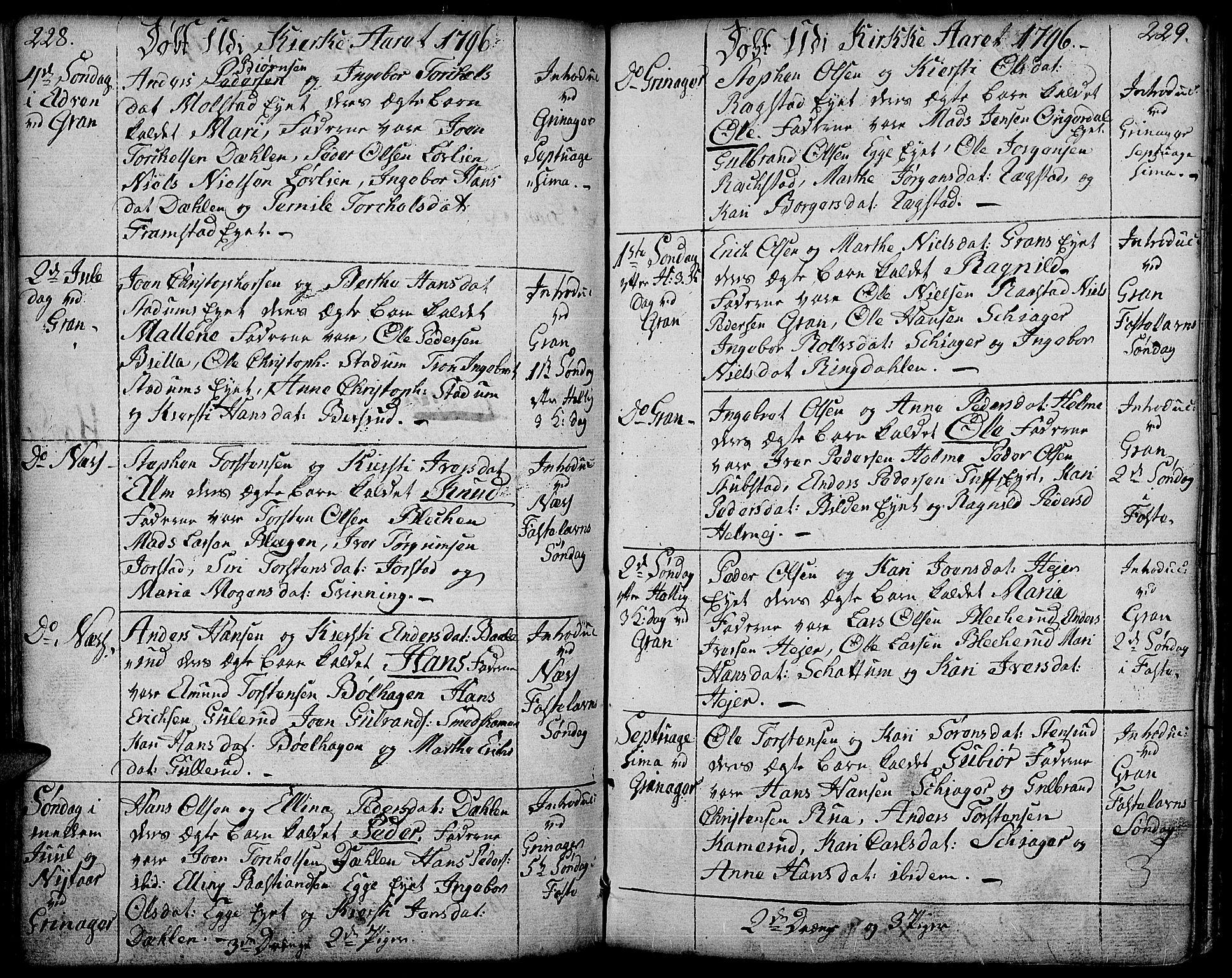 SAH, Gran prestekontor, Ministerialbok nr. 6, 1787-1824, s. 228-229