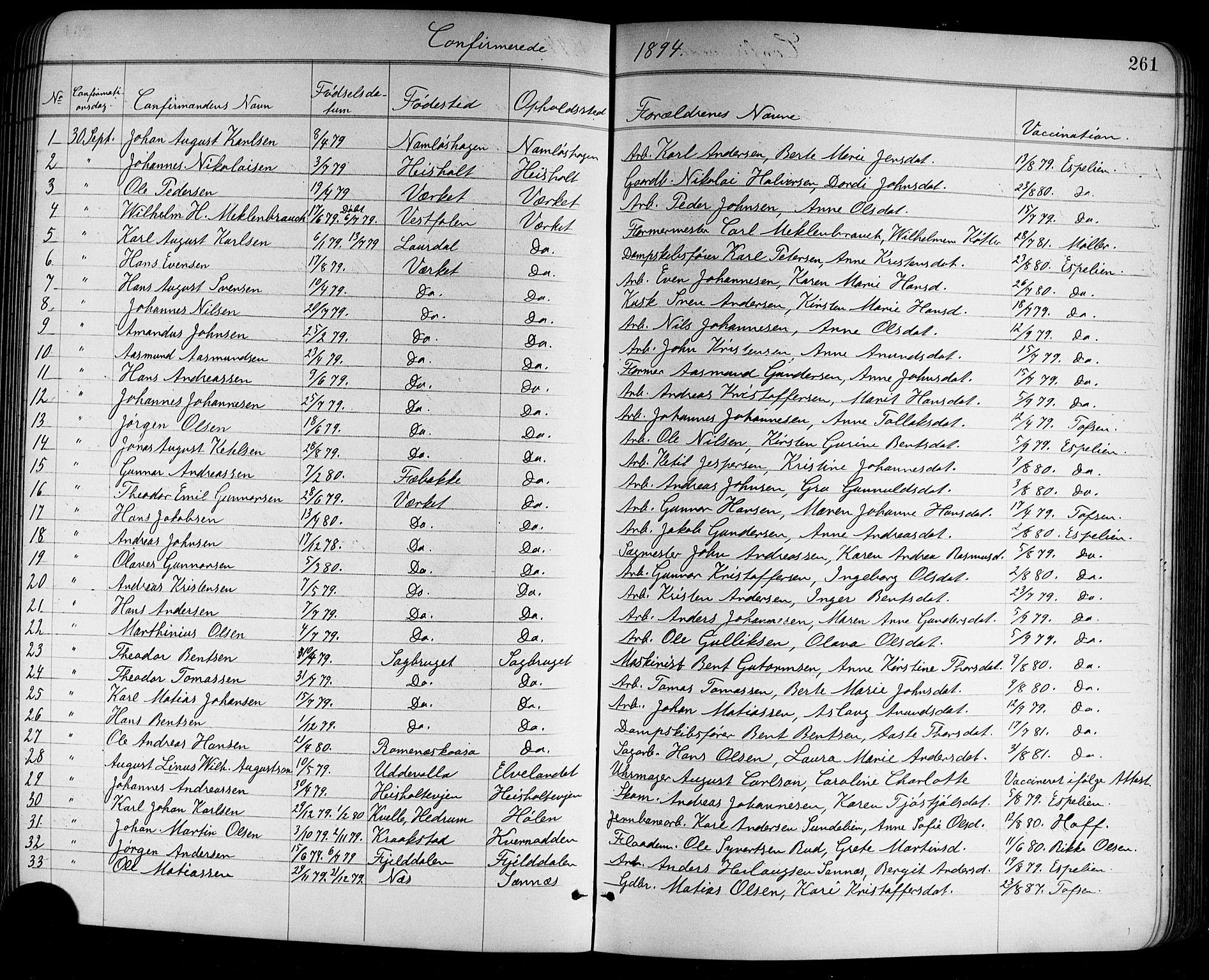 SAKO, Holla kirkebøker, G/Ga/L0005: Klokkerbok nr. I 5, 1891-1917, s. 261