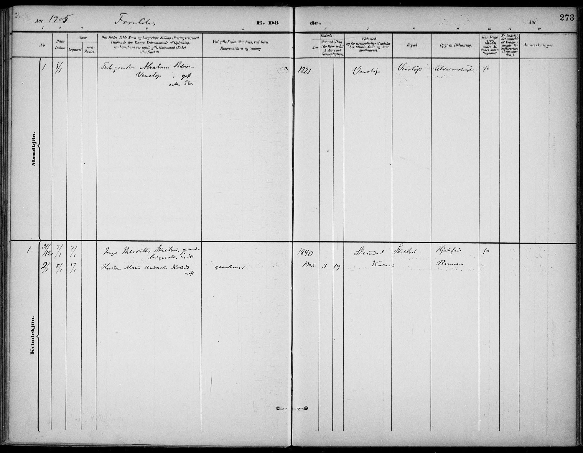 SAKO, Gjerpen kirkebøker, F/Fa/L0011: Ministerialbok nr. 11, 1896-1904, s. 273