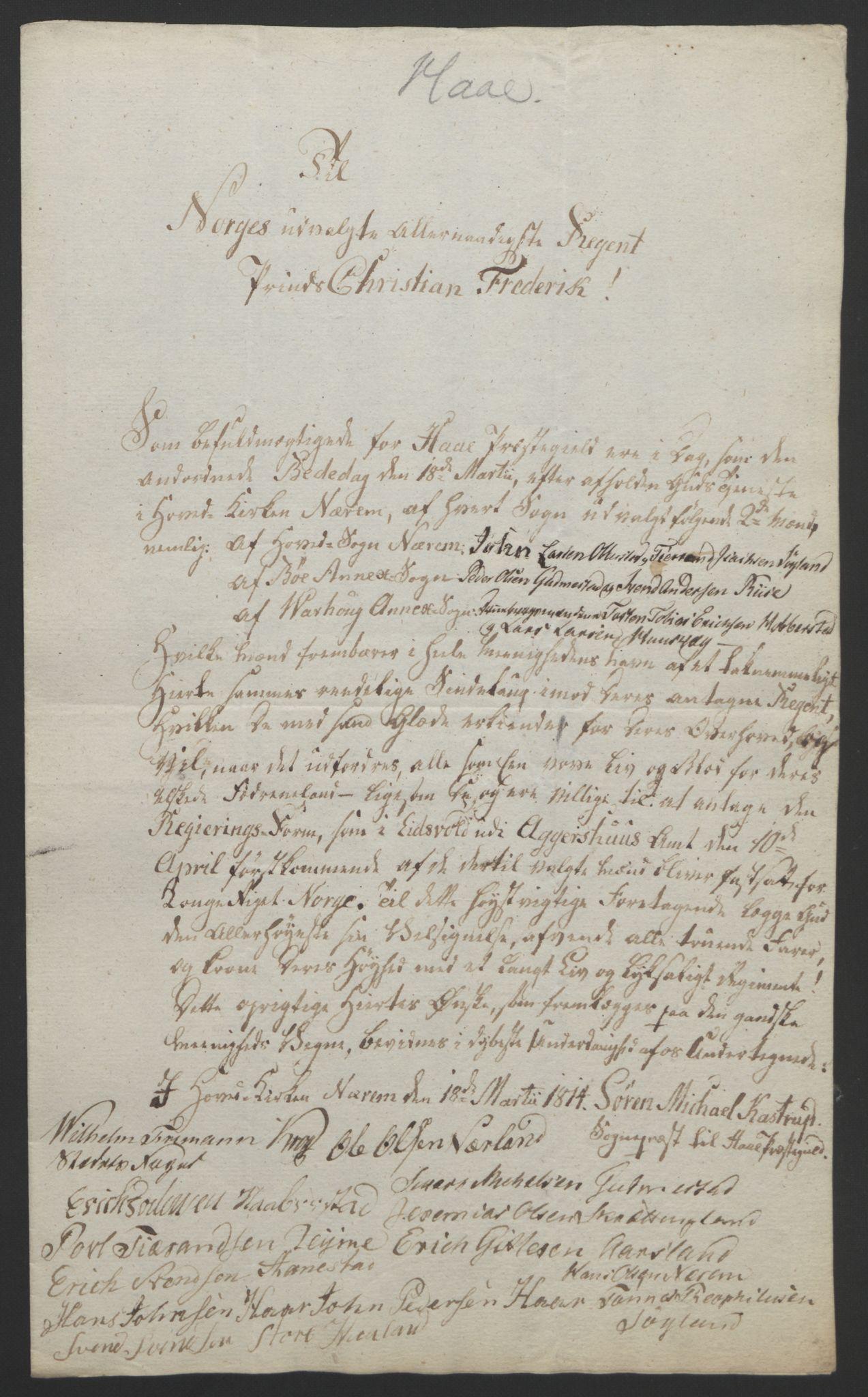 RA, Statsrådssekretariatet, D/Db/L0008: Fullmakter for Eidsvollsrepresentantene i 1814. , 1814, s. 218