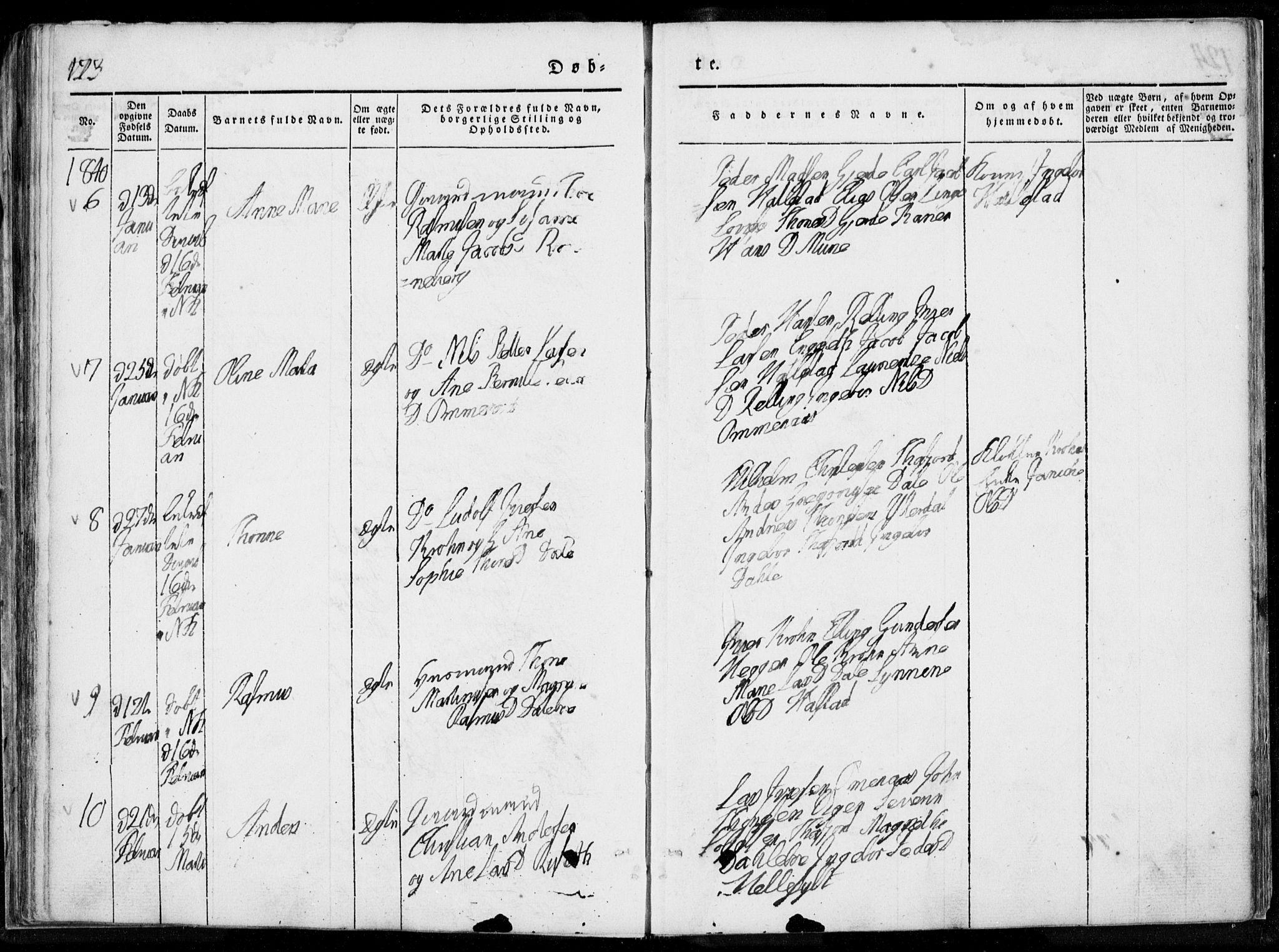SAT, Ministerialprotokoller, klokkerbøker og fødselsregistre - Møre og Romsdal, 519/L0247: Ministerialbok nr. 519A06, 1827-1846, s. 123