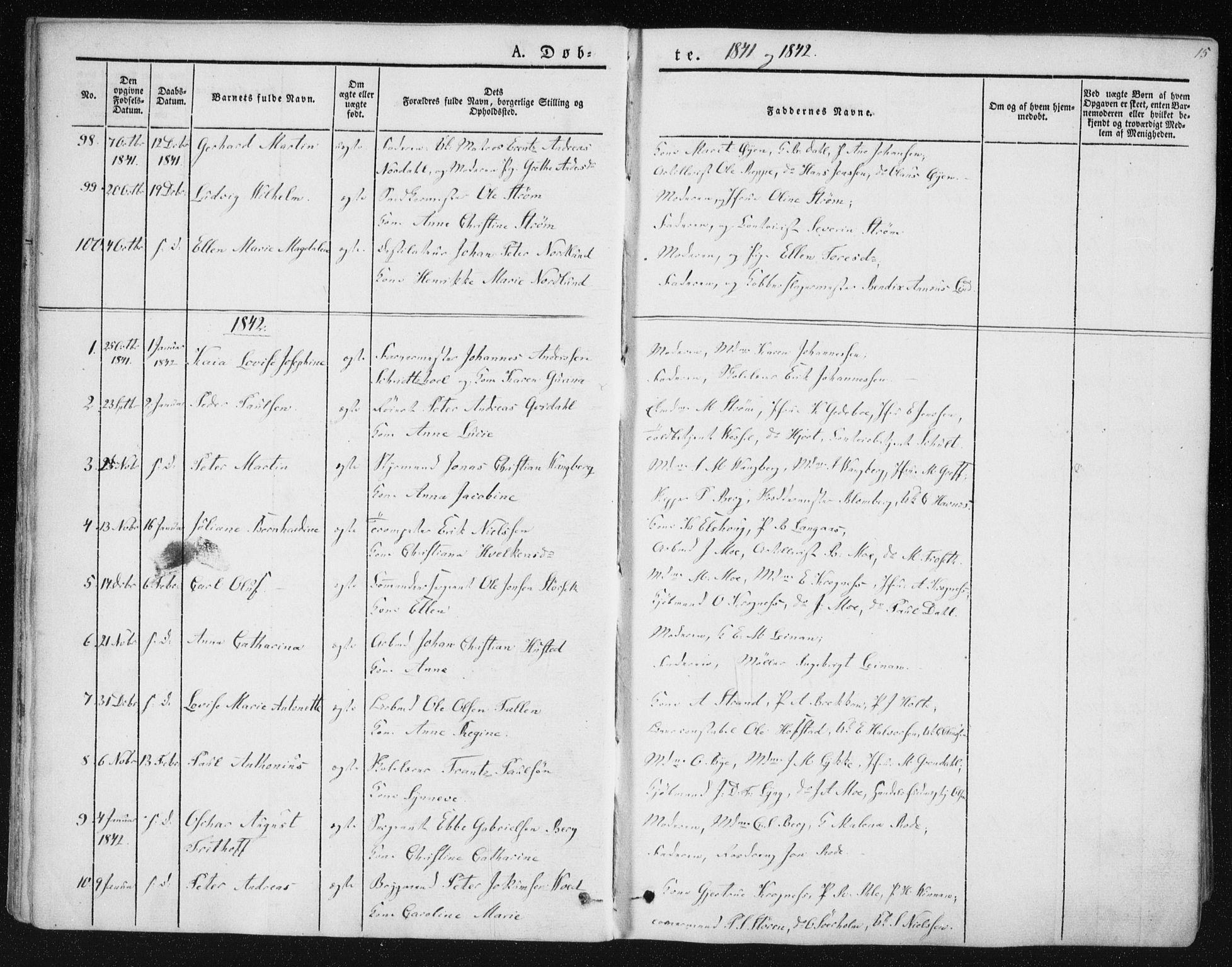 SAT, Ministerialprotokoller, klokkerbøker og fødselsregistre - Sør-Trøndelag, 602/L0110: Ministerialbok nr. 602A08, 1840-1854, s. 15