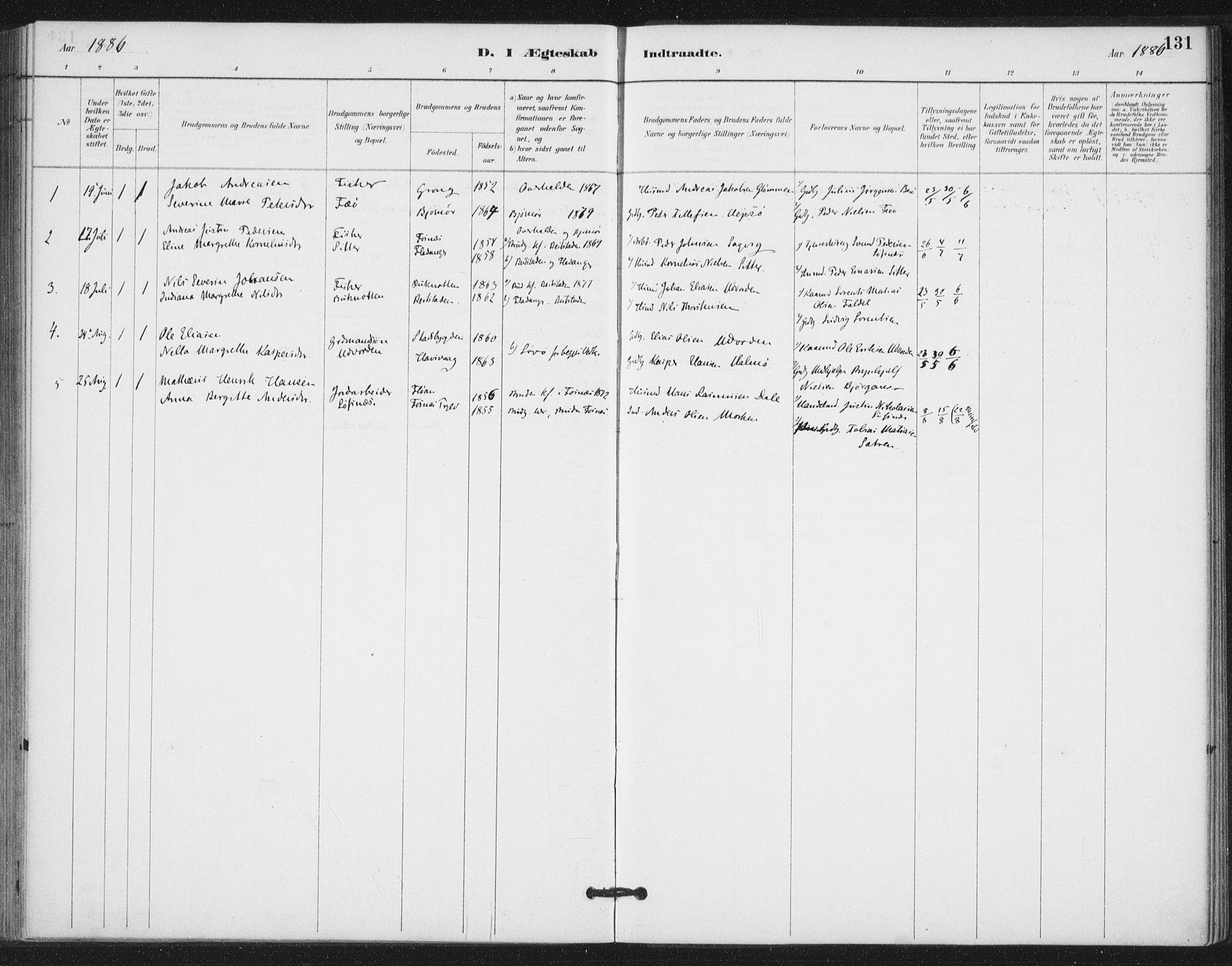 SAT, Ministerialprotokoller, klokkerbøker og fødselsregistre - Nord-Trøndelag, 772/L0603: Ministerialbok nr. 772A01, 1885-1912, s. 131