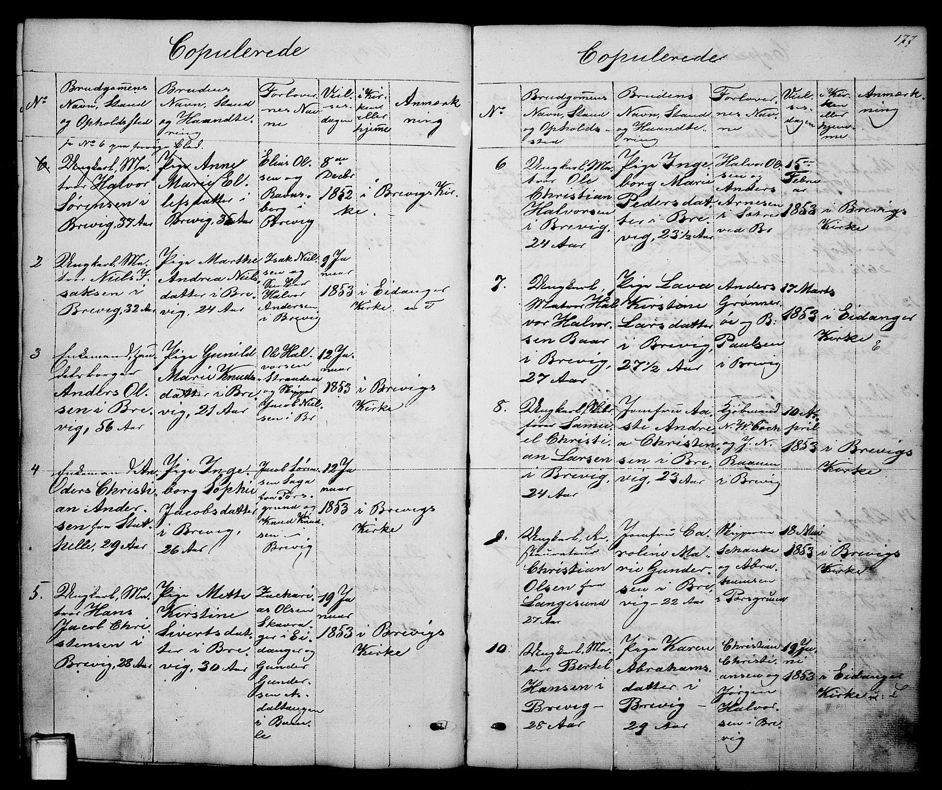 SAKO, Brevik kirkebøker, G/Ga/L0002: Klokkerbok nr. 2, 1846-1865, s. 177