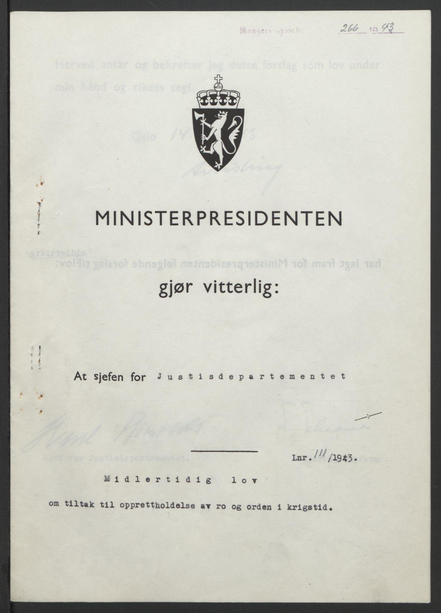 RA, NS-administrasjonen 1940-1945 (Statsrådsekretariatet, de kommisariske statsråder mm), D/Db/L0099: Lover, 1943, s. 518