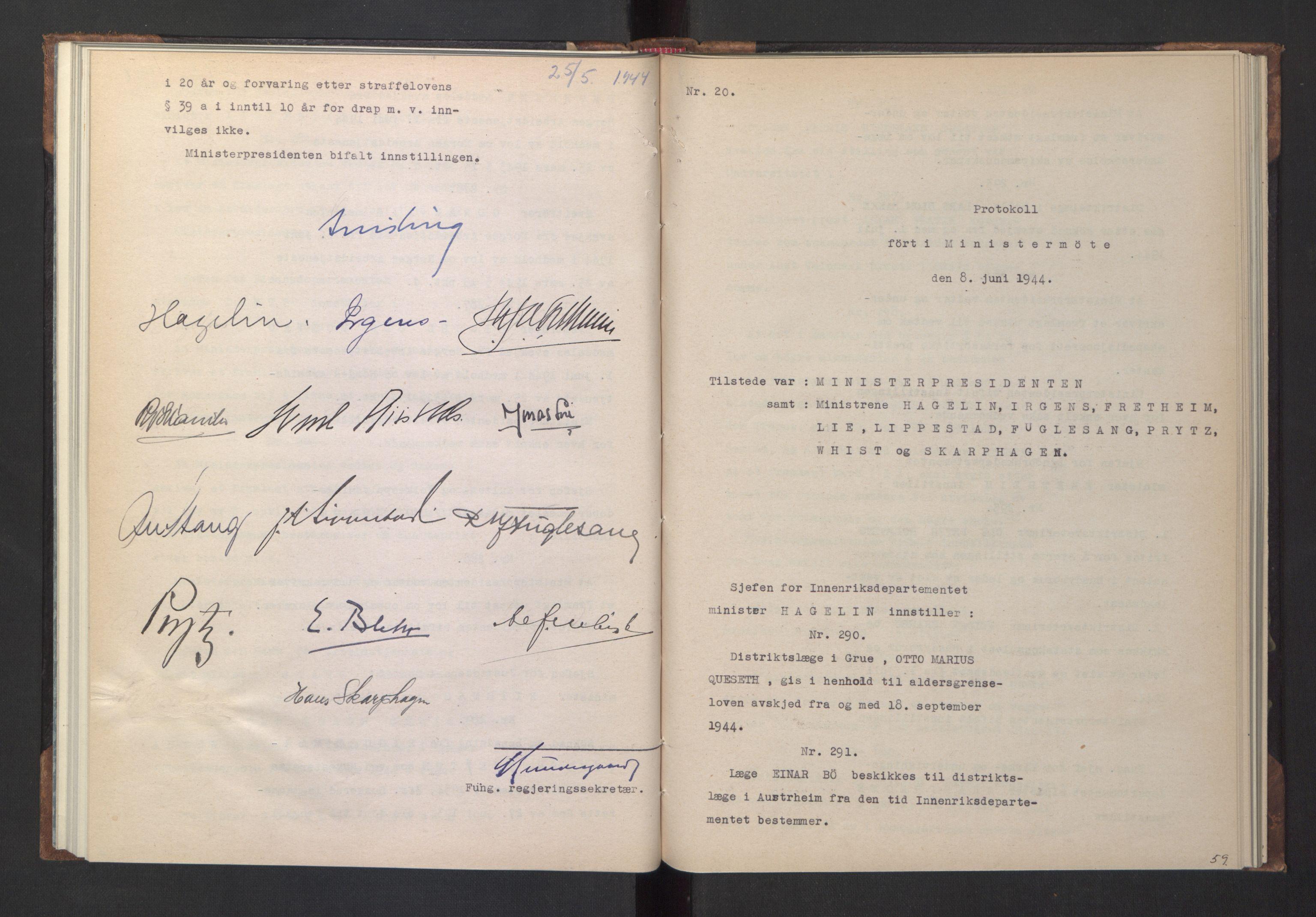 RA, NS-administrasjonen 1940-1945 (Statsrådsekretariatet, de kommisariske statsråder mm), D/Da/L0005: Protokoll fra ministermøter, 1944, s. 58b-59a