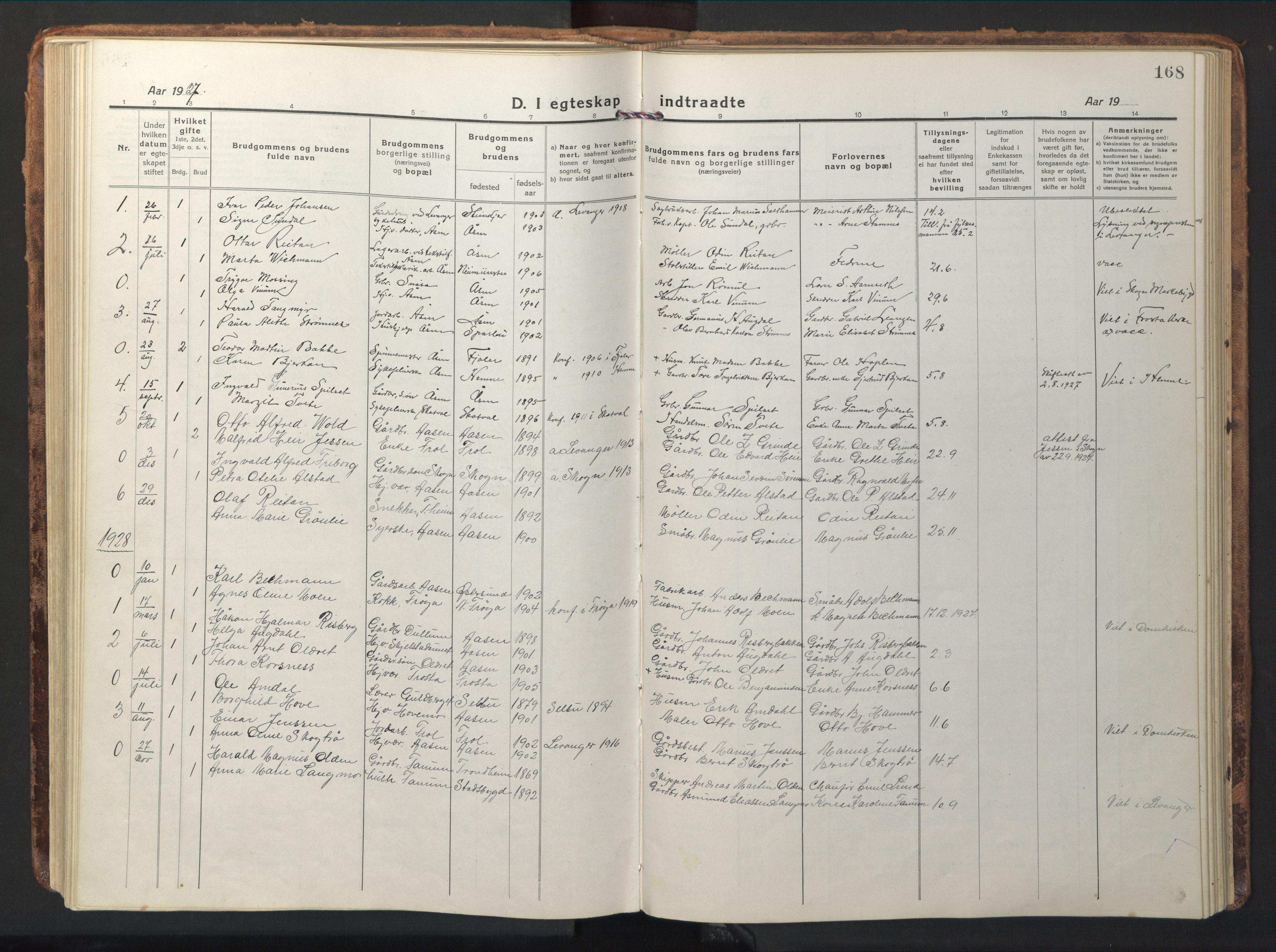 SAT, Ministerialprotokoller, klokkerbøker og fødselsregistre - Nord-Trøndelag, 714/L0136: Klokkerbok nr. 714C05, 1918-1957, s. 168