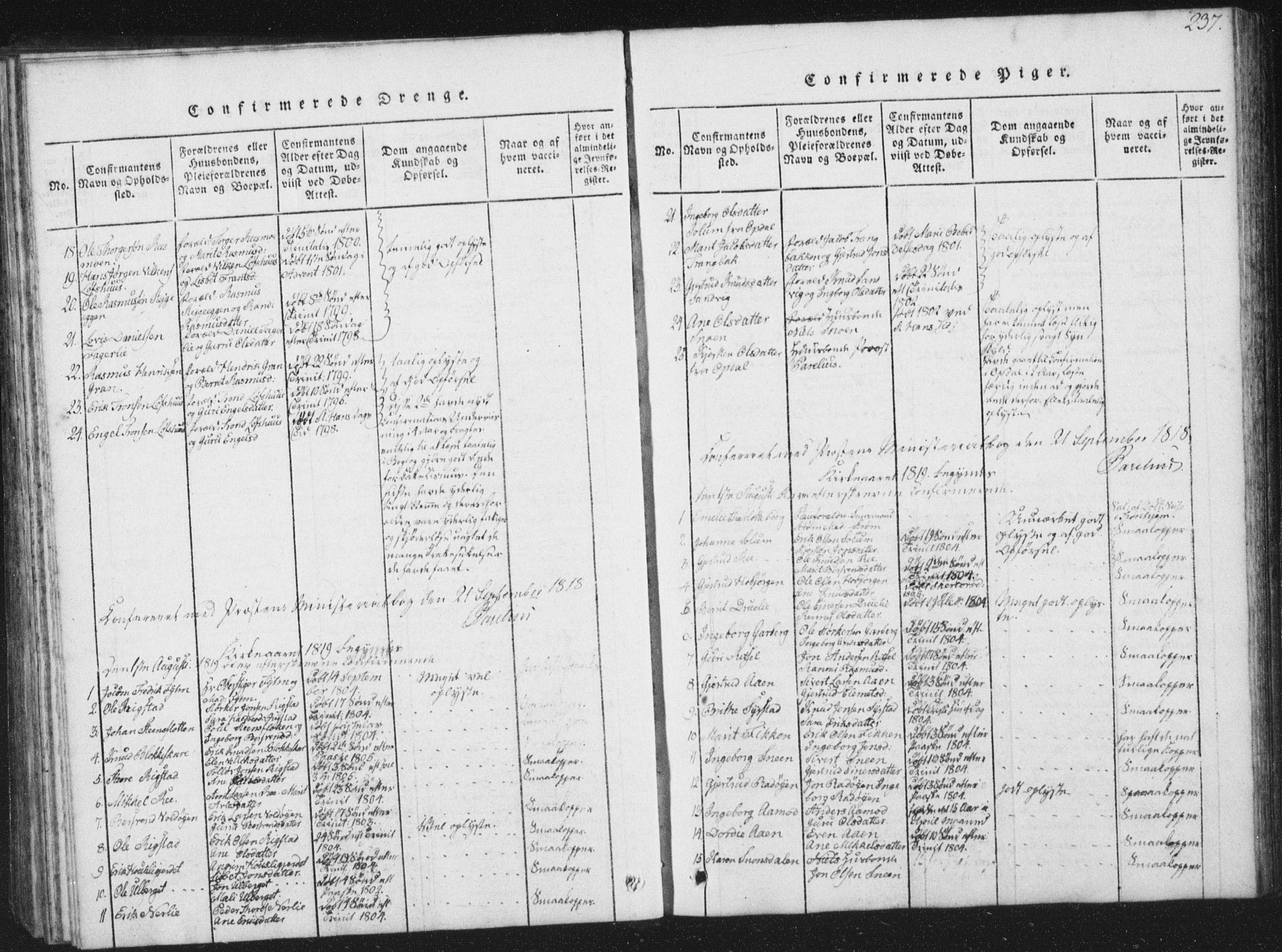 SAT, Ministerialprotokoller, klokkerbøker og fødselsregistre - Sør-Trøndelag, 672/L0862: Klokkerbok nr. 672C01, 1816-1831, s. 237