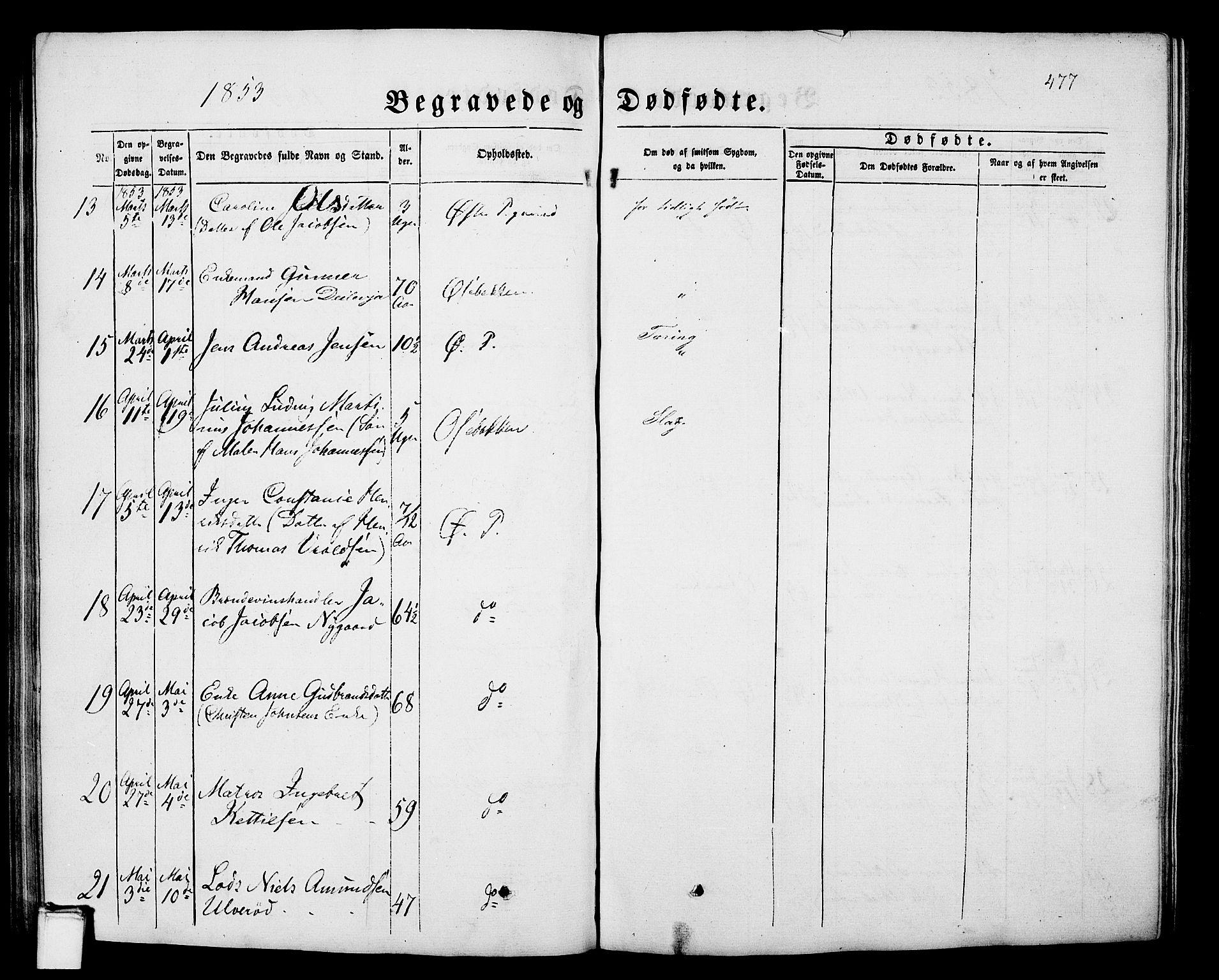 SAKO, Porsgrunn kirkebøker , G/Gb/L0004: Klokkerbok nr. II 4, 1853-1882, s. 477