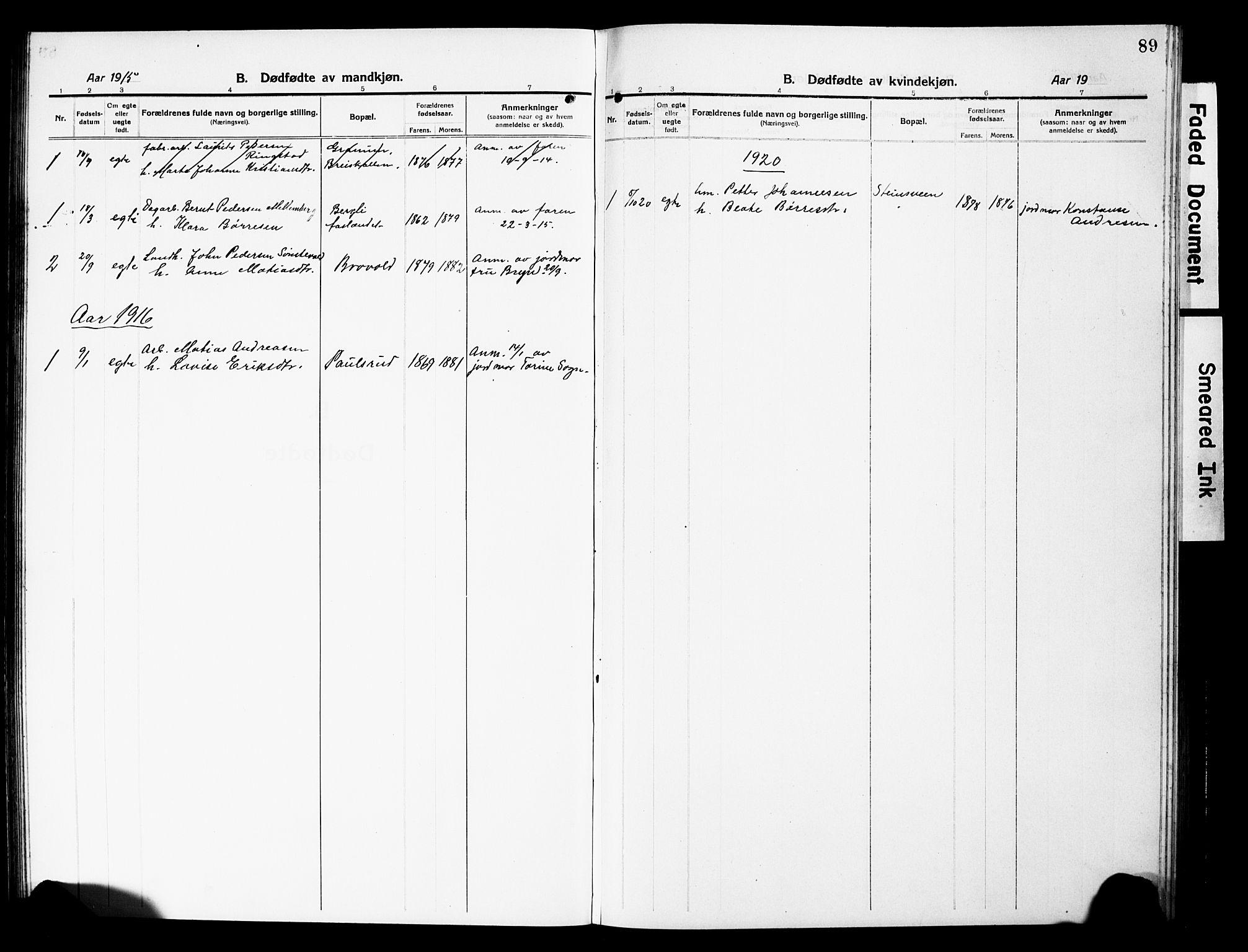 SAH, Vardal prestekontor, H/Ha/Hab/L0015: Klokkerbok nr. 15, 1914-1931, s. 89