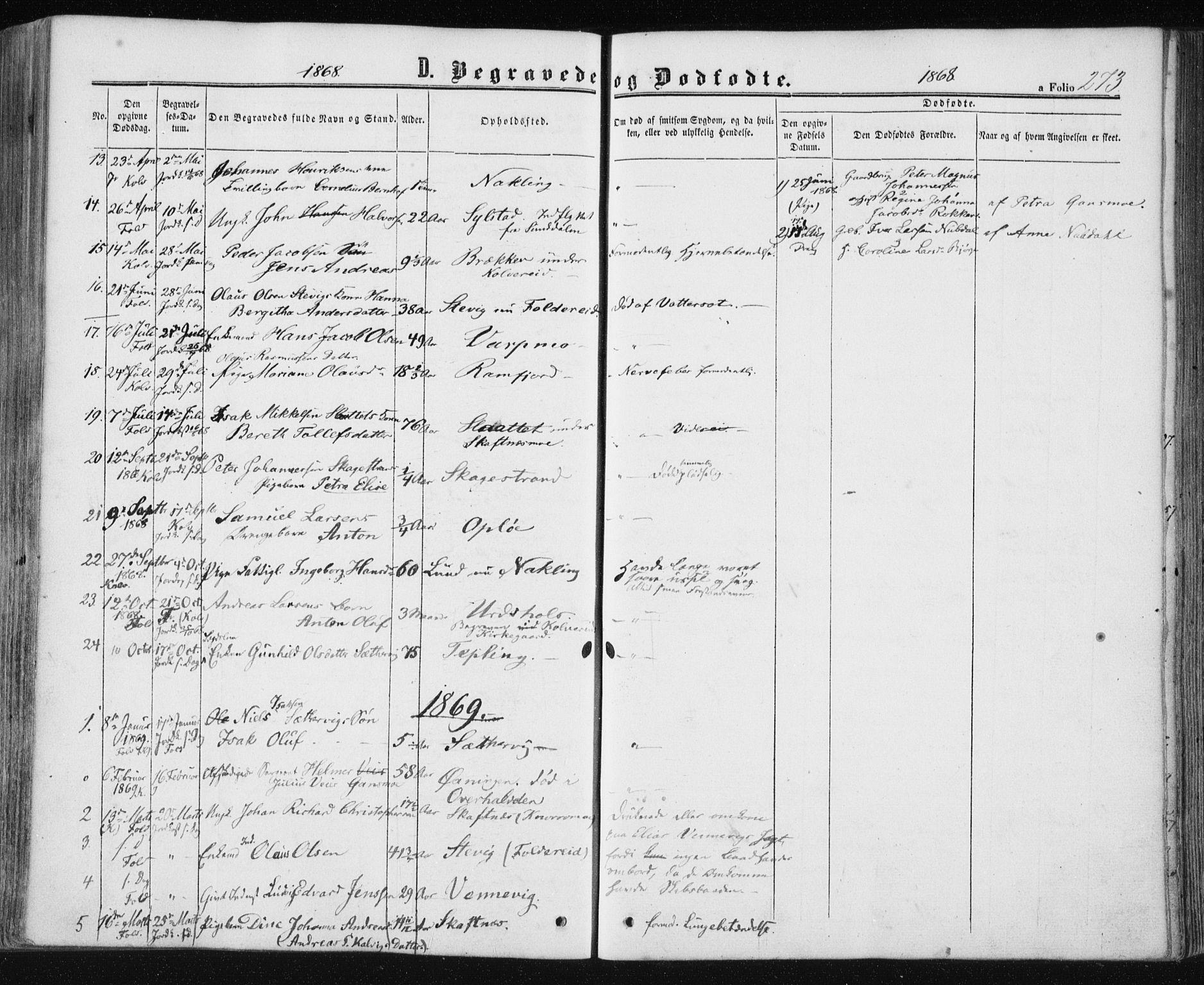 SAT, Ministerialprotokoller, klokkerbøker og fødselsregistre - Nord-Trøndelag, 780/L0641: Ministerialbok nr. 780A06, 1857-1874, s. 273