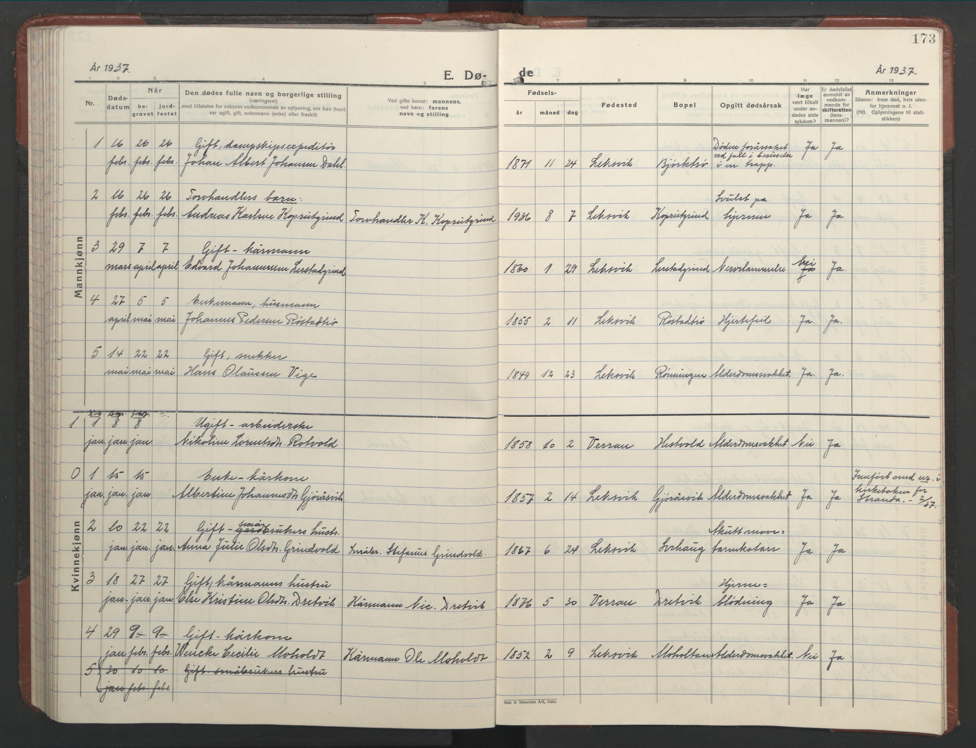 SAT, Ministerialprotokoller, klokkerbøker og fødselsregistre - Nord-Trøndelag, 701/L0019: Klokkerbok nr. 701C03, 1930-1953, s. 173