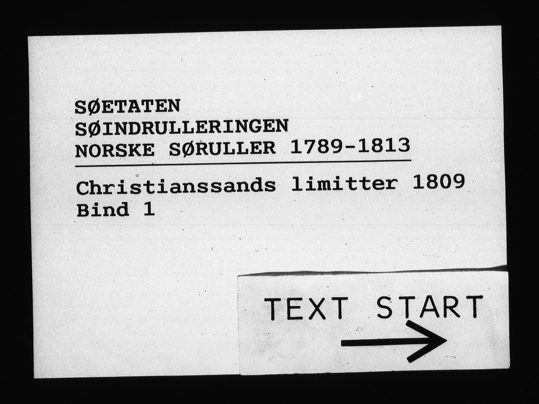 RA, Sjøetaten, F/L0103: Kristiansand limitter, bind 1, 1809
