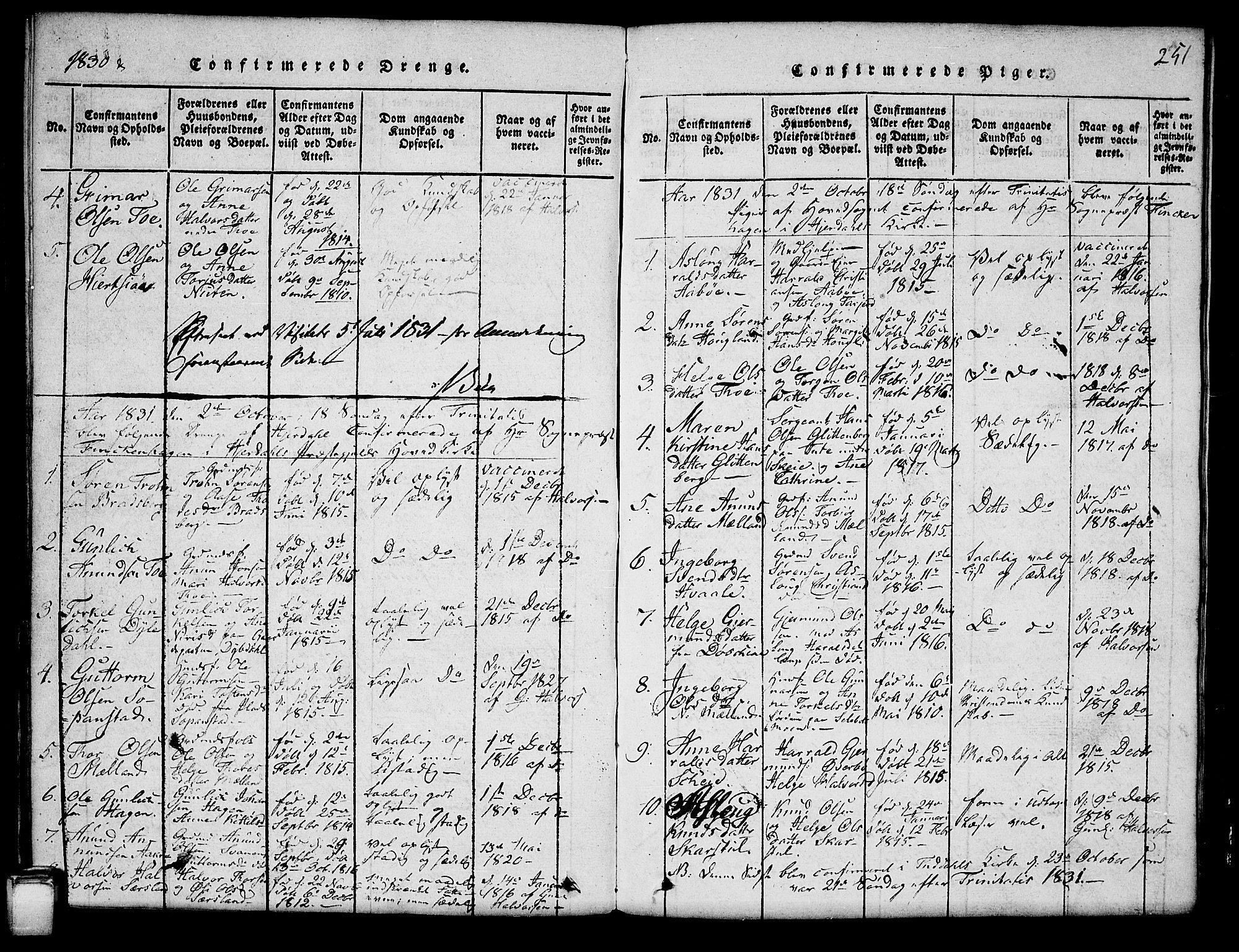 SAKO, Hjartdal kirkebøker, G/Ga/L0001: Klokkerbok nr. I 1, 1815-1842, s. 251
