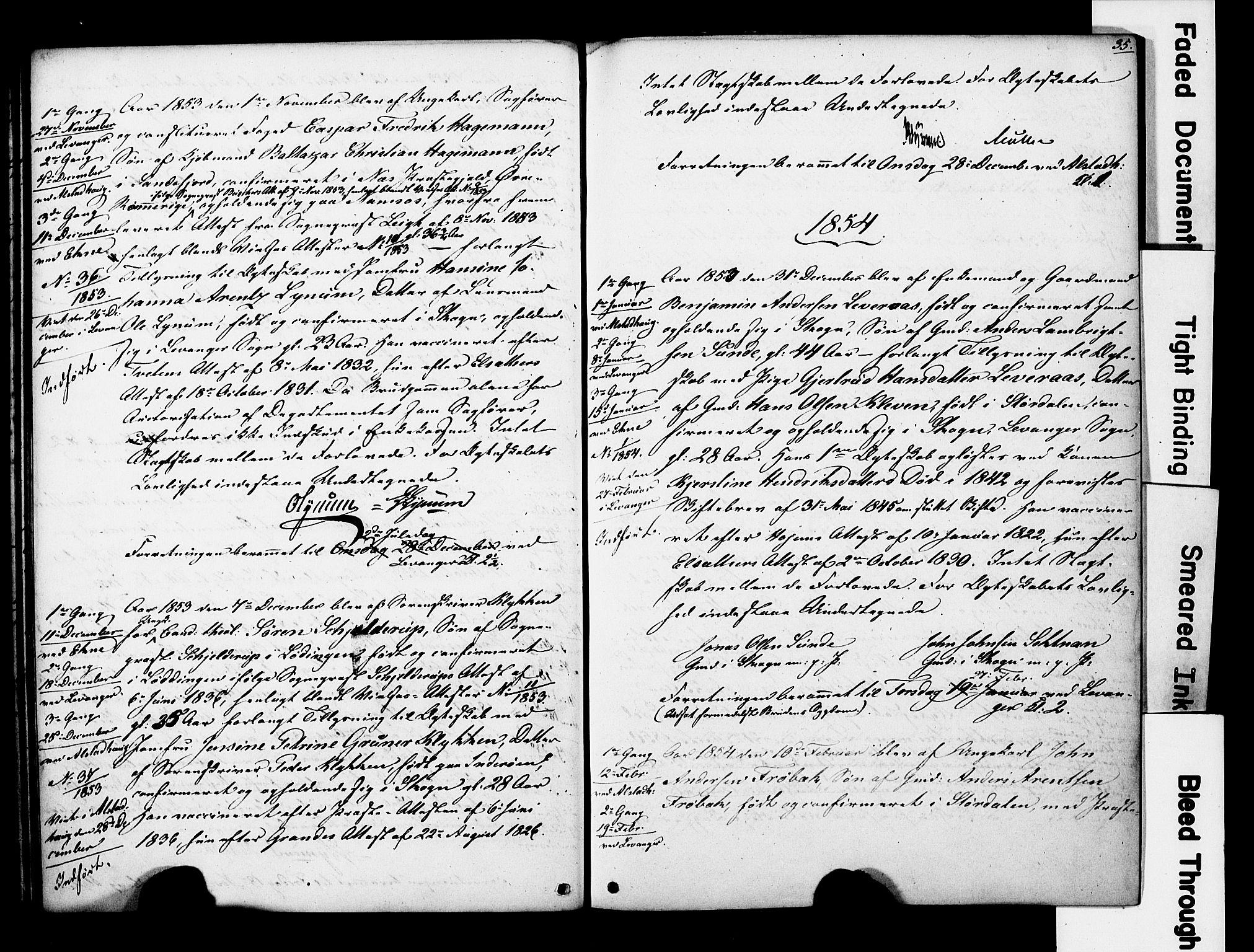 SAT, Ministerialprotokoller, klokkerbøker og fødselsregistre - Nord-Trøndelag, 717/L0161: Forlovererklæringer nr. 717A11, 1850-1895, s. 35