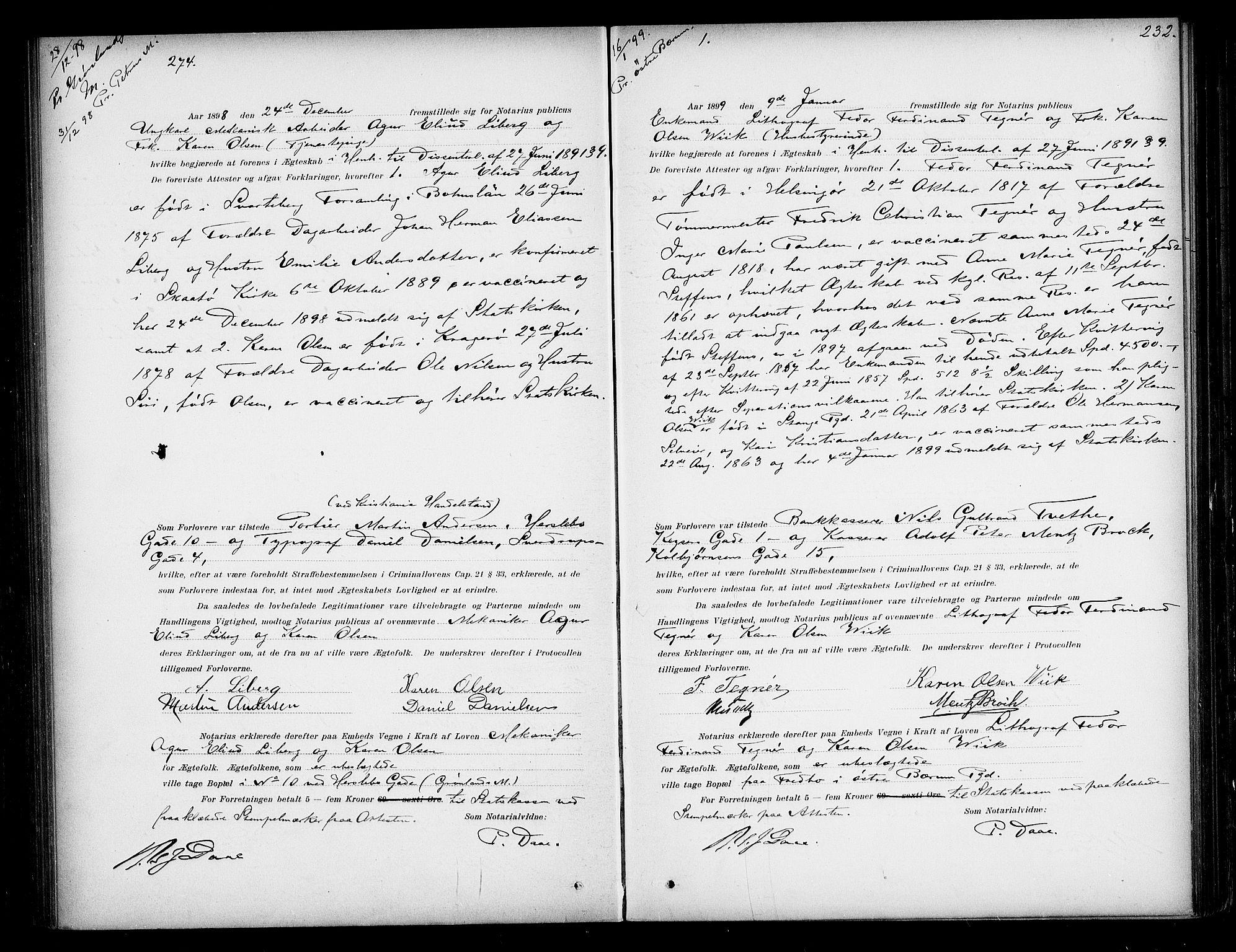 SAO, Oslo byfogd avd. I, L/Lb/Lbb/L0005: Notarialprotokoll, rekke II: Vigsler, 1897-1902, s. 231b-232a
