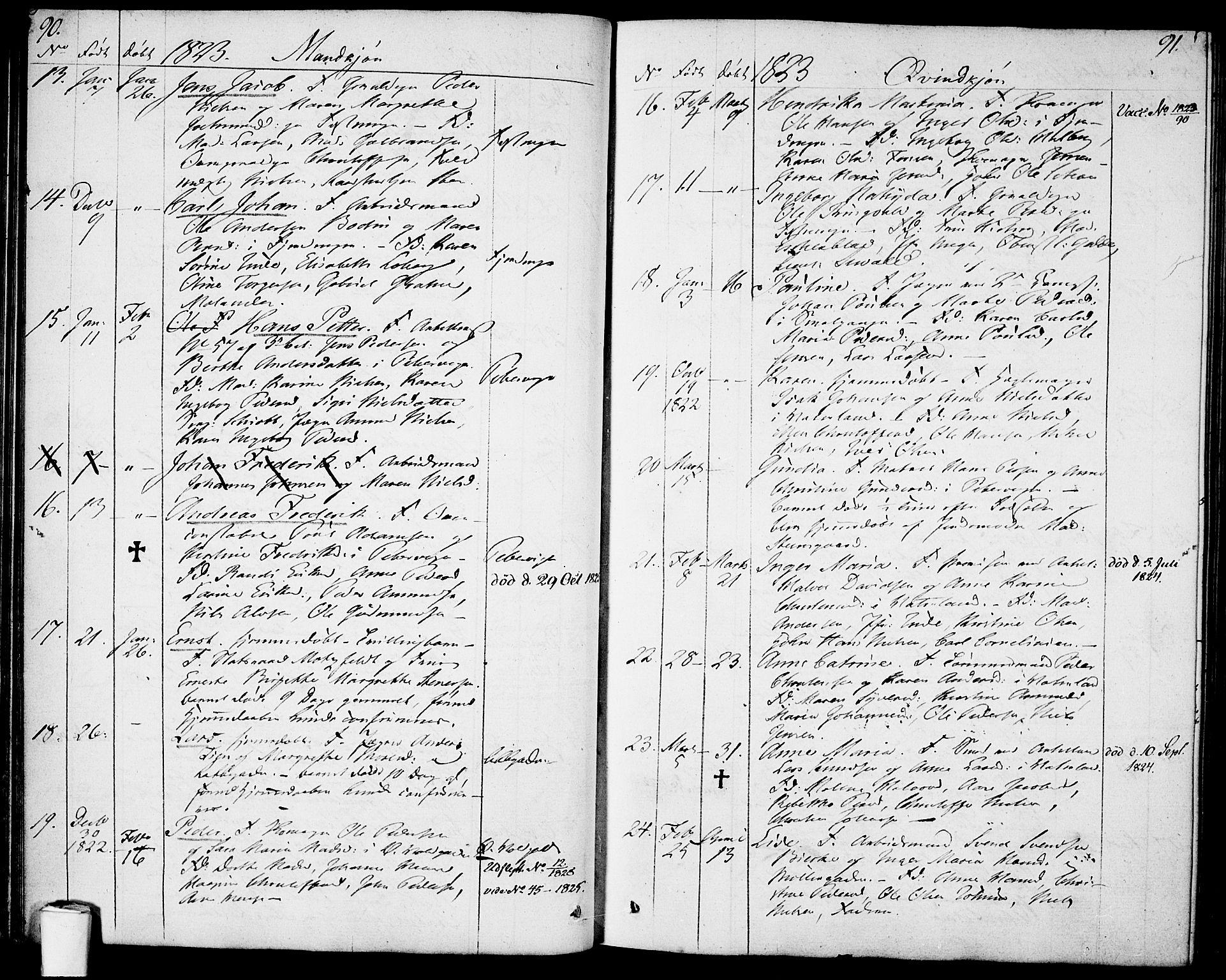 SAO, Garnisonsmenigheten Kirkebøker, F/Fa/L0004: Ministerialbok nr. 4, 1820-1828, s. 90-91