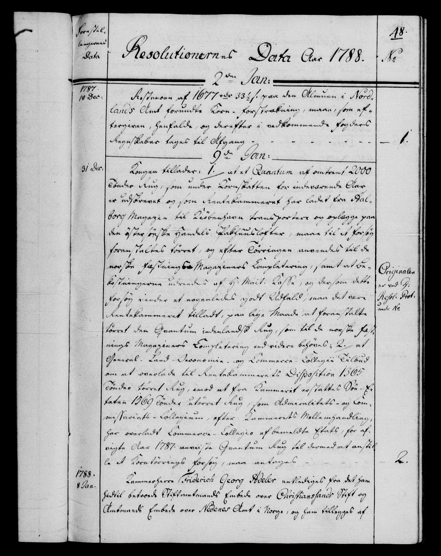 RA, Rentekammeret, Kammerkanselliet, G/Gf/Gfb/L0013: Register til norske relasjons- og resolusjonsprotokoller (merket RK 52.108), 1786-1793, s. 1048a