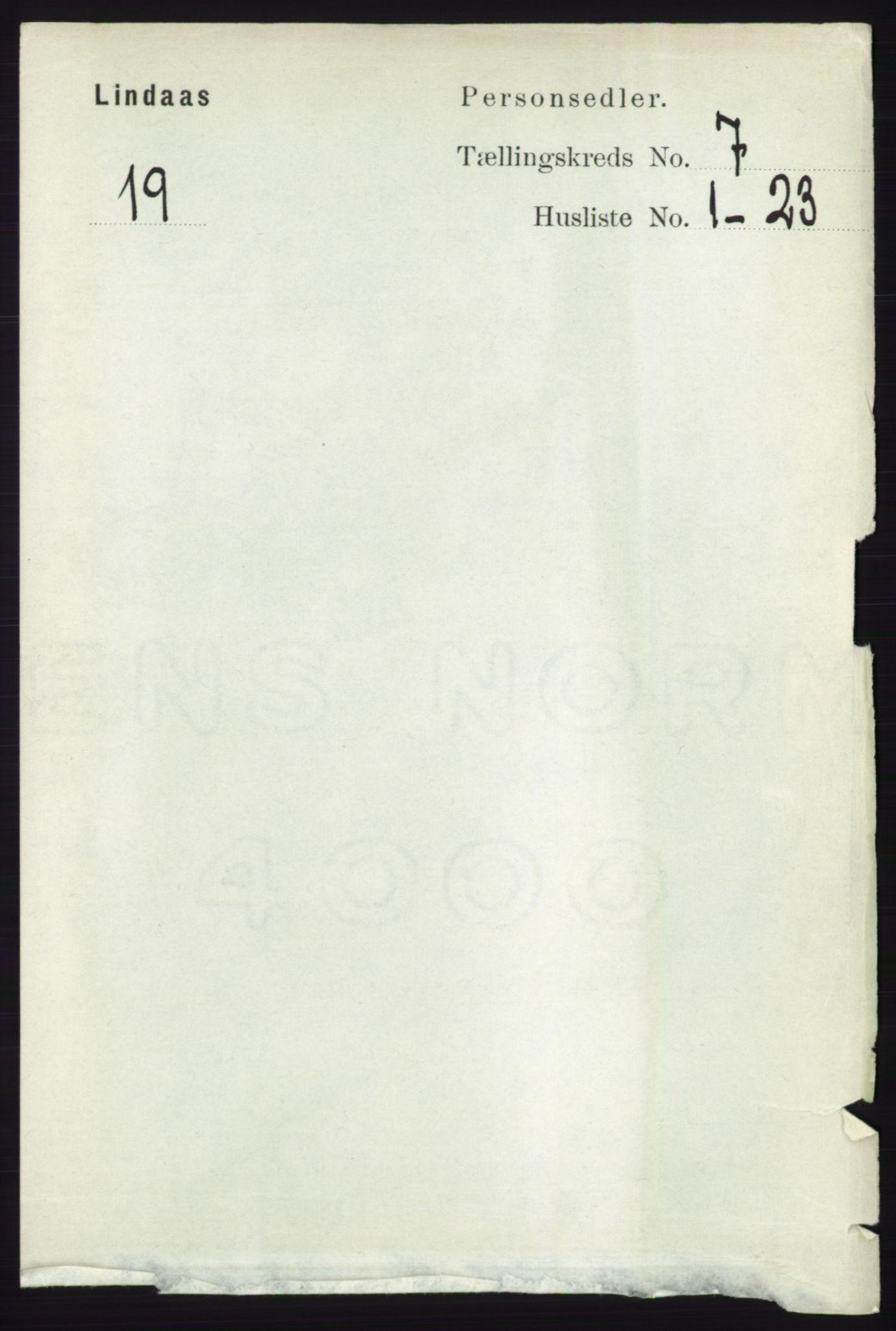 RA, Folketelling 1891 for 1263 Lindås herred, 1891, s. 2076