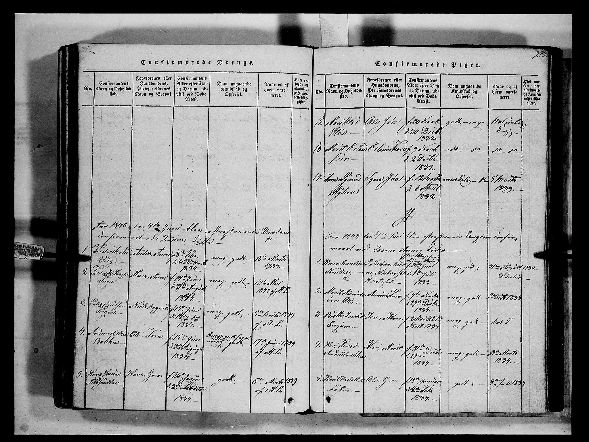 SAH, Fron prestekontor, H/Ha/Hab/L0002: Klokkerbok nr. 2, 1816-1850, s. 273