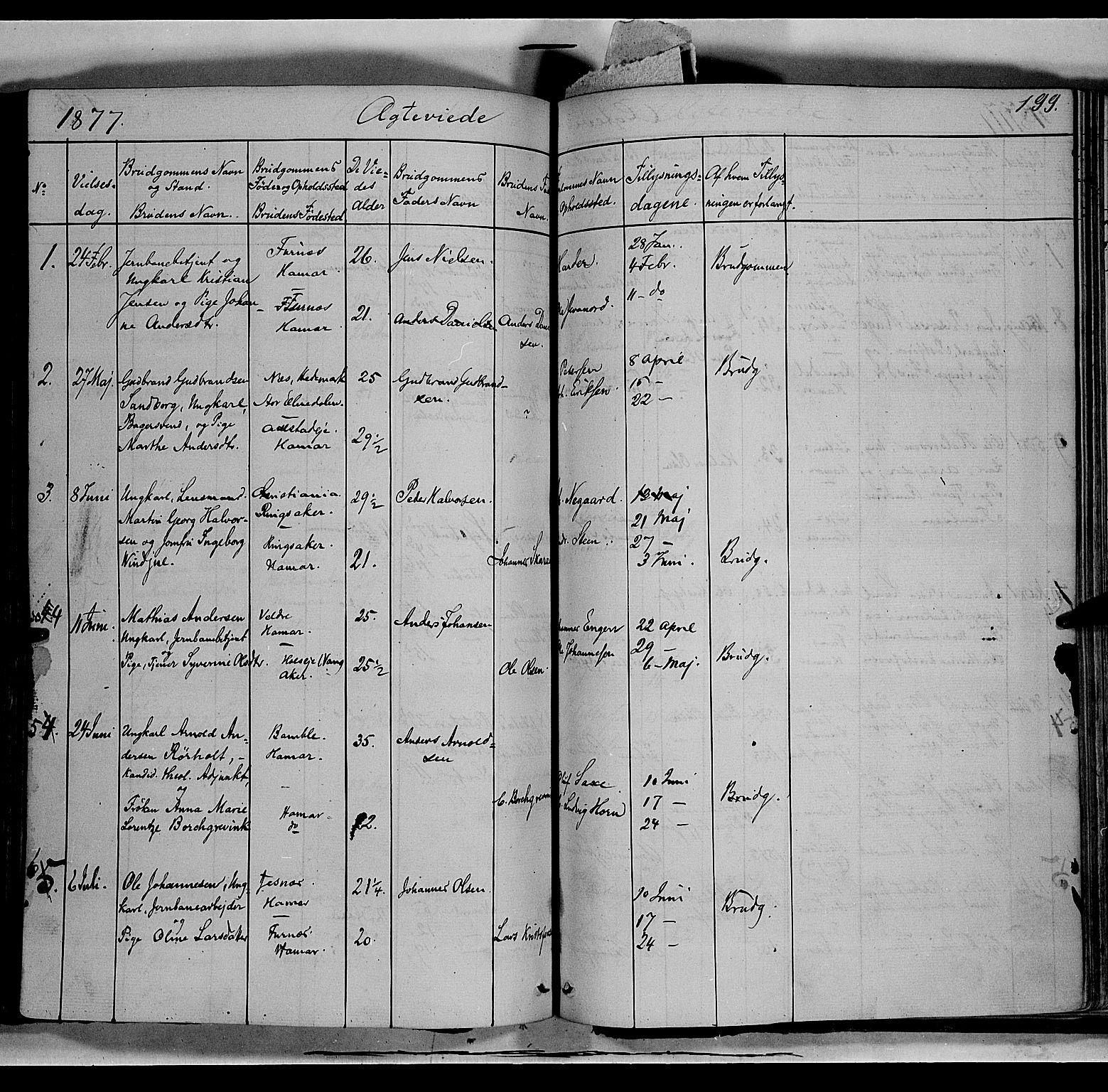 SAH, Vang prestekontor, Hedmark, H/Ha/Haa/L0011: Ministerialbok nr. 11, 1852-1877, s. 199