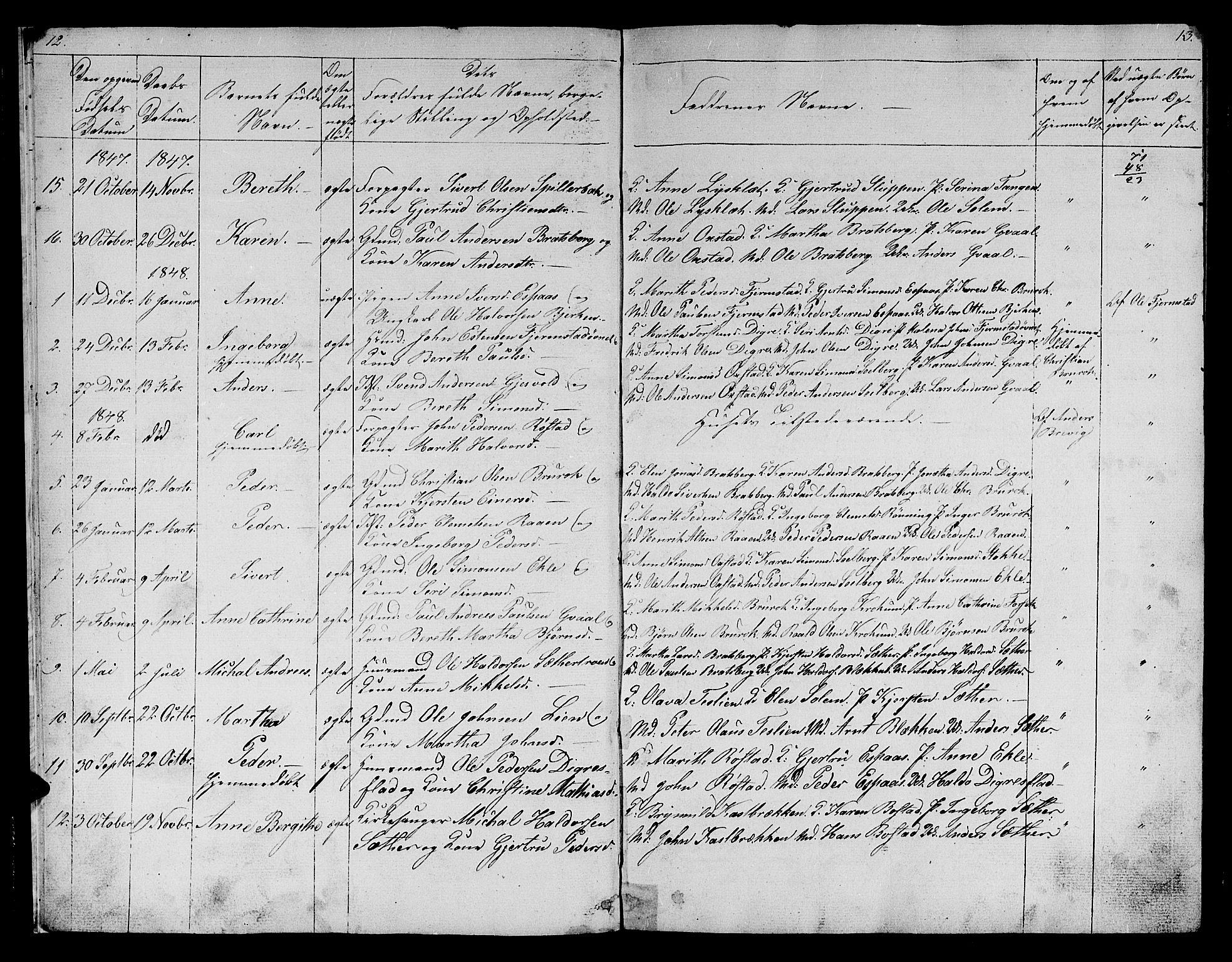 SAT, Ministerialprotokoller, klokkerbøker og fødselsregistre - Sør-Trøndelag, 608/L0339: Klokkerbok nr. 608C05, 1844-1863, s. 12-13