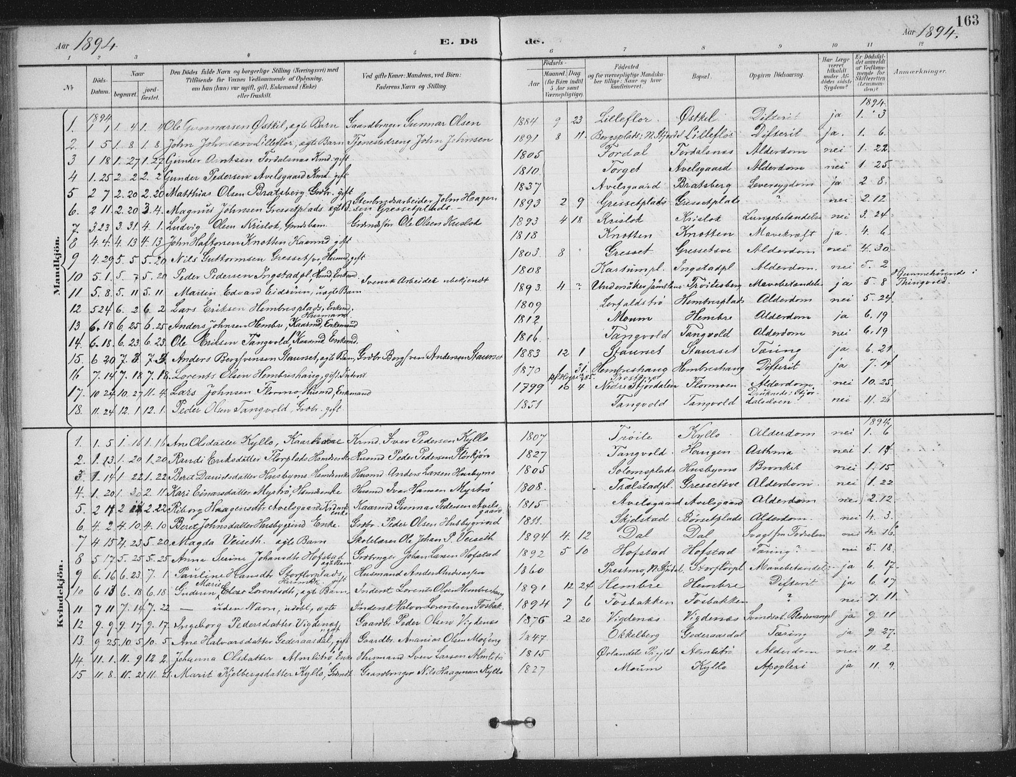 SAT, Ministerialprotokoller, klokkerbøker og fødselsregistre - Nord-Trøndelag, 703/L0031: Ministerialbok nr. 703A04, 1893-1914, s. 163
