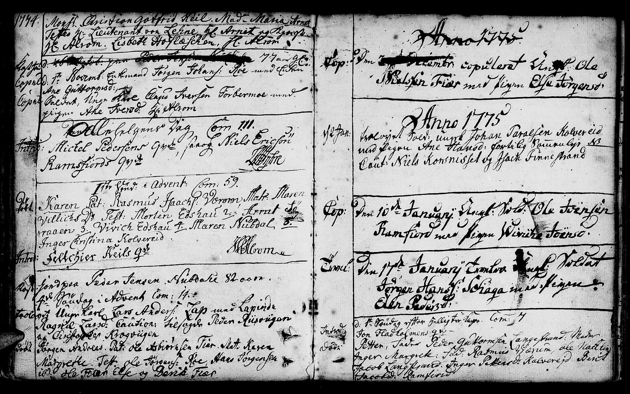 SAT, Ministerialprotokoller, klokkerbøker og fødselsregistre - Nord-Trøndelag, 780/L0632: Ministerialbok nr. 780A01, 1736-1786