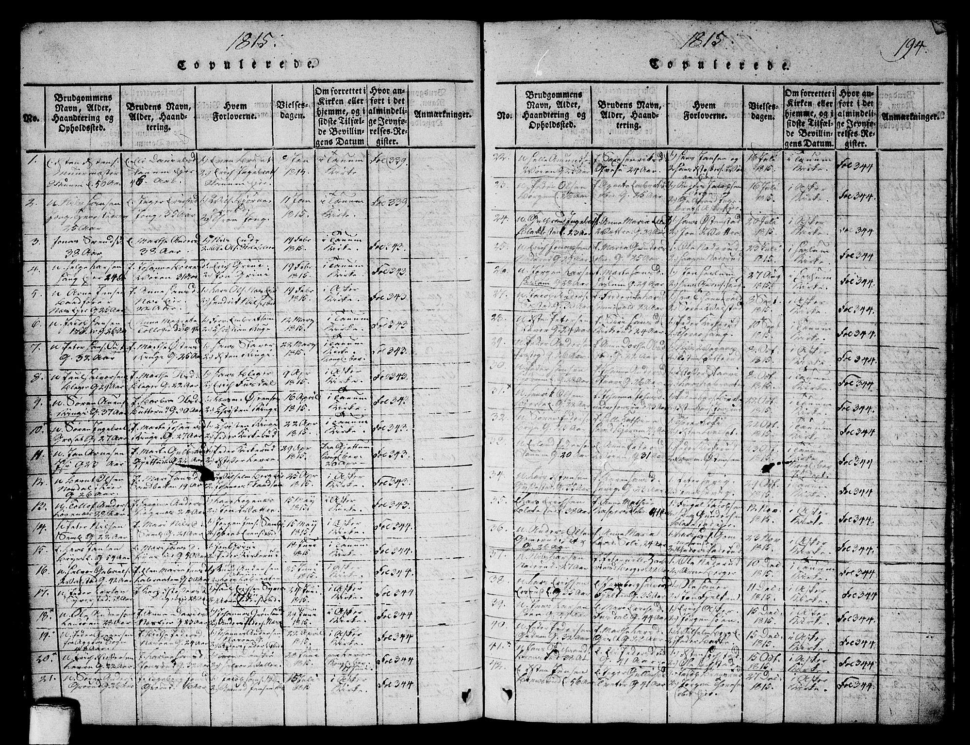 SAO, Asker prestekontor Kirkebøker, G/Ga/L0001: Klokkerbok nr. I 1, 1814-1830, s. 194