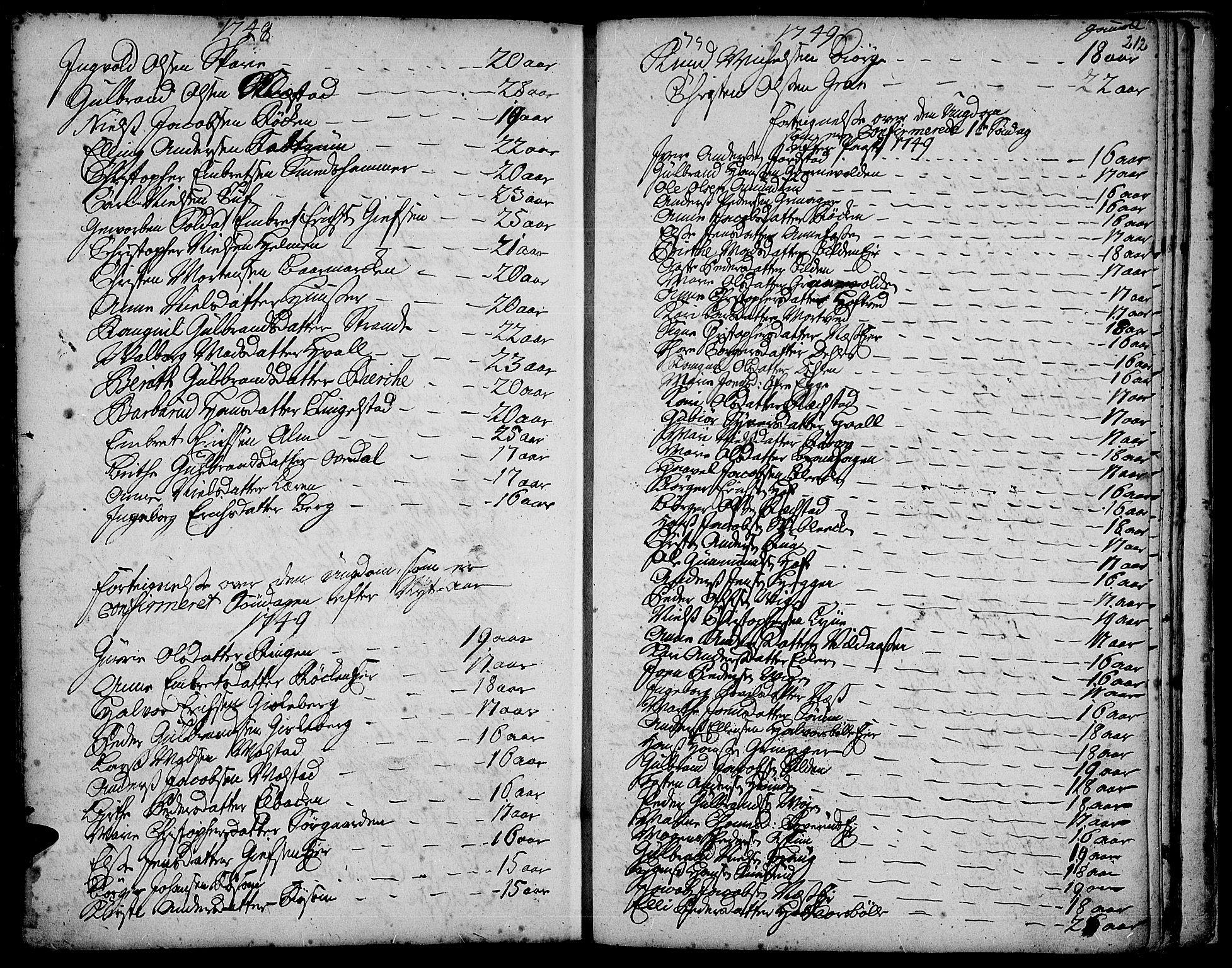 SAH, Gran prestekontor, Ministerialbok nr. 3, 1745-1758, s. 212