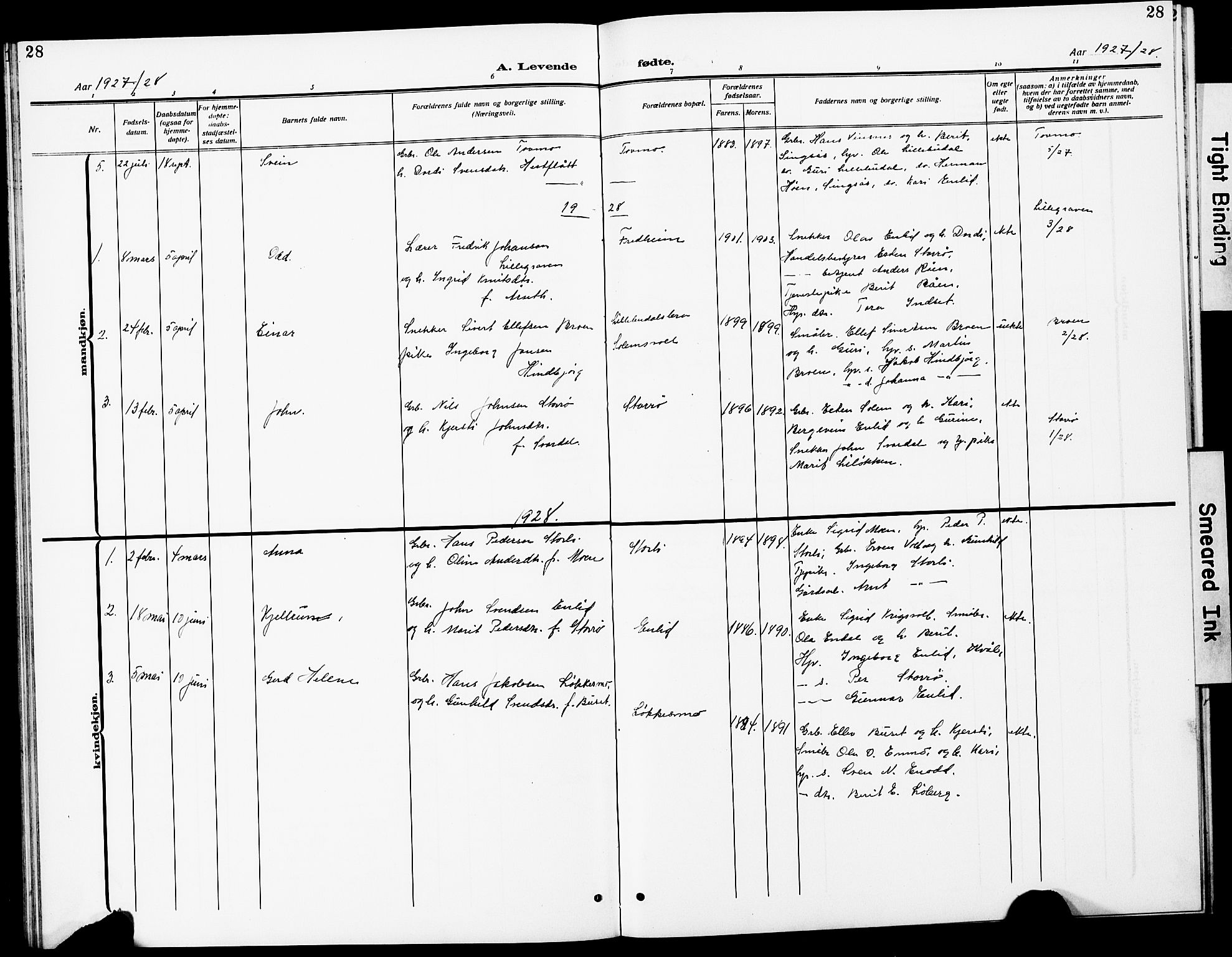 SAT, Ministerialprotokoller, klokkerbøker og fødselsregistre - Sør-Trøndelag, 690/L1052: Klokkerbok nr. 690C02, 1907-1929, s. 28
