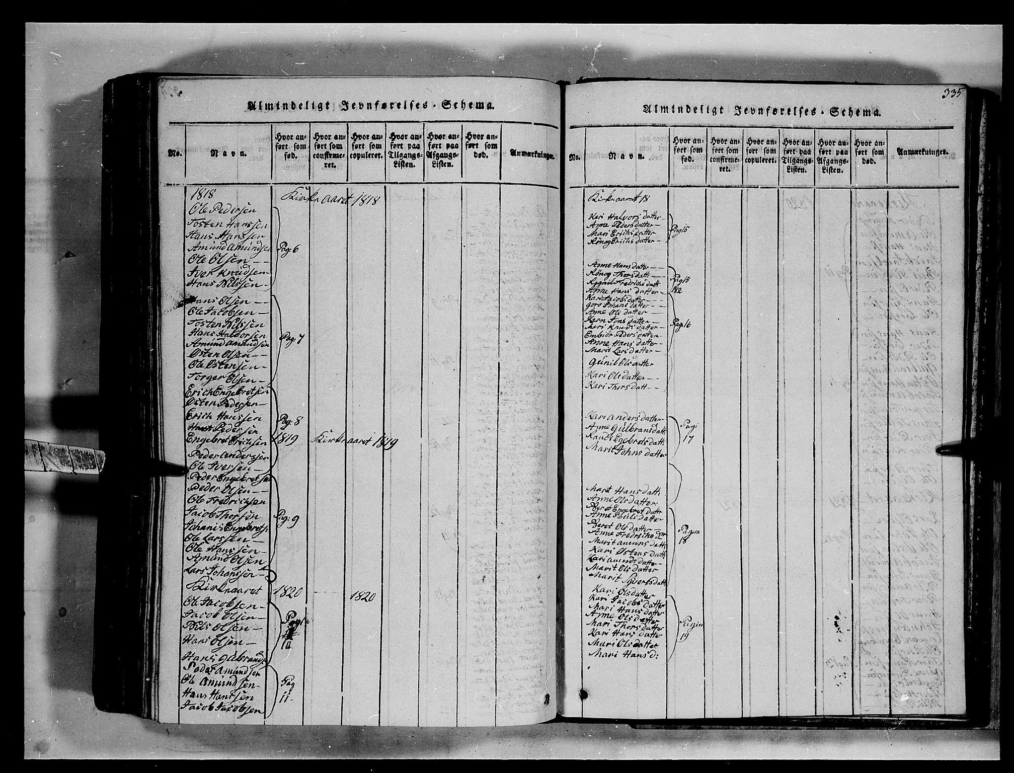 SAH, Fron prestekontor, H/Ha/Hab/L0002: Klokkerbok nr. 2, 1816-1850, s. 335