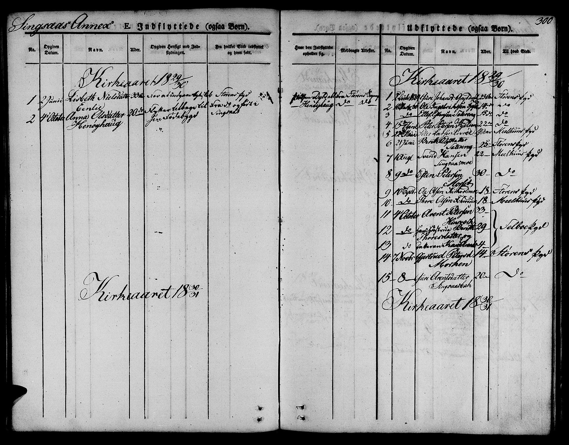 SAT, Ministerialprotokoller, klokkerbøker og fødselsregistre - Sør-Trøndelag, 685/L0961: Ministerialbok nr. 685A05 /2, 1829-1845, s. 300