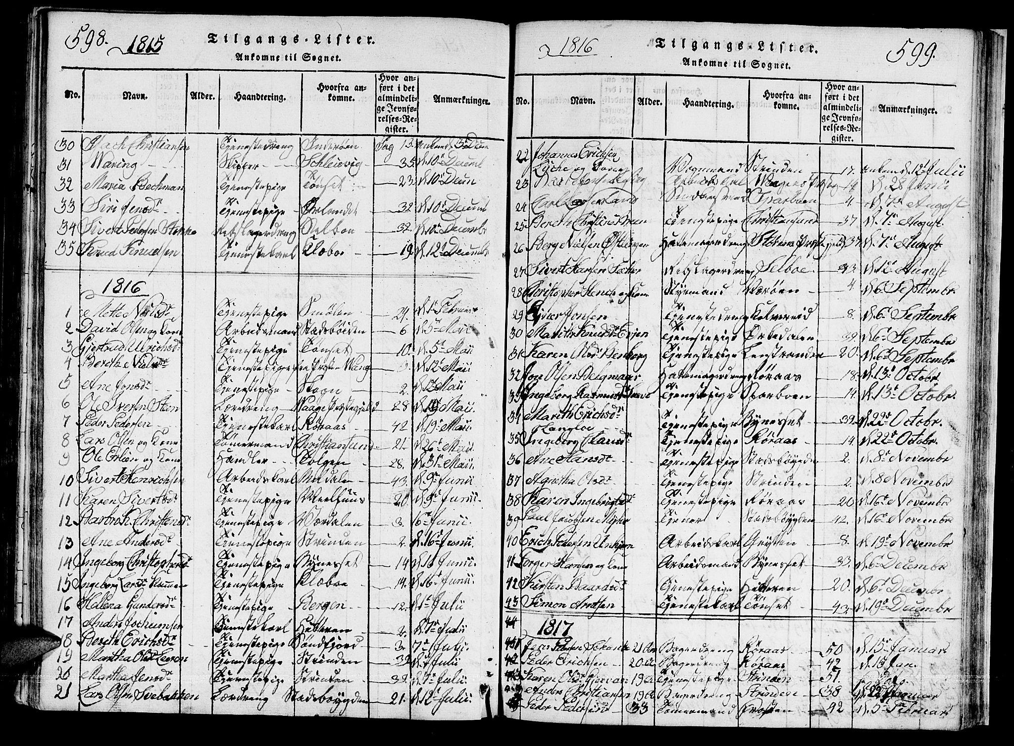 SAT, Ministerialprotokoller, klokkerbøker og fødselsregistre - Sør-Trøndelag, 601/L0043: Ministerialbok nr. 601A11, 1815-1821, s. 598-599