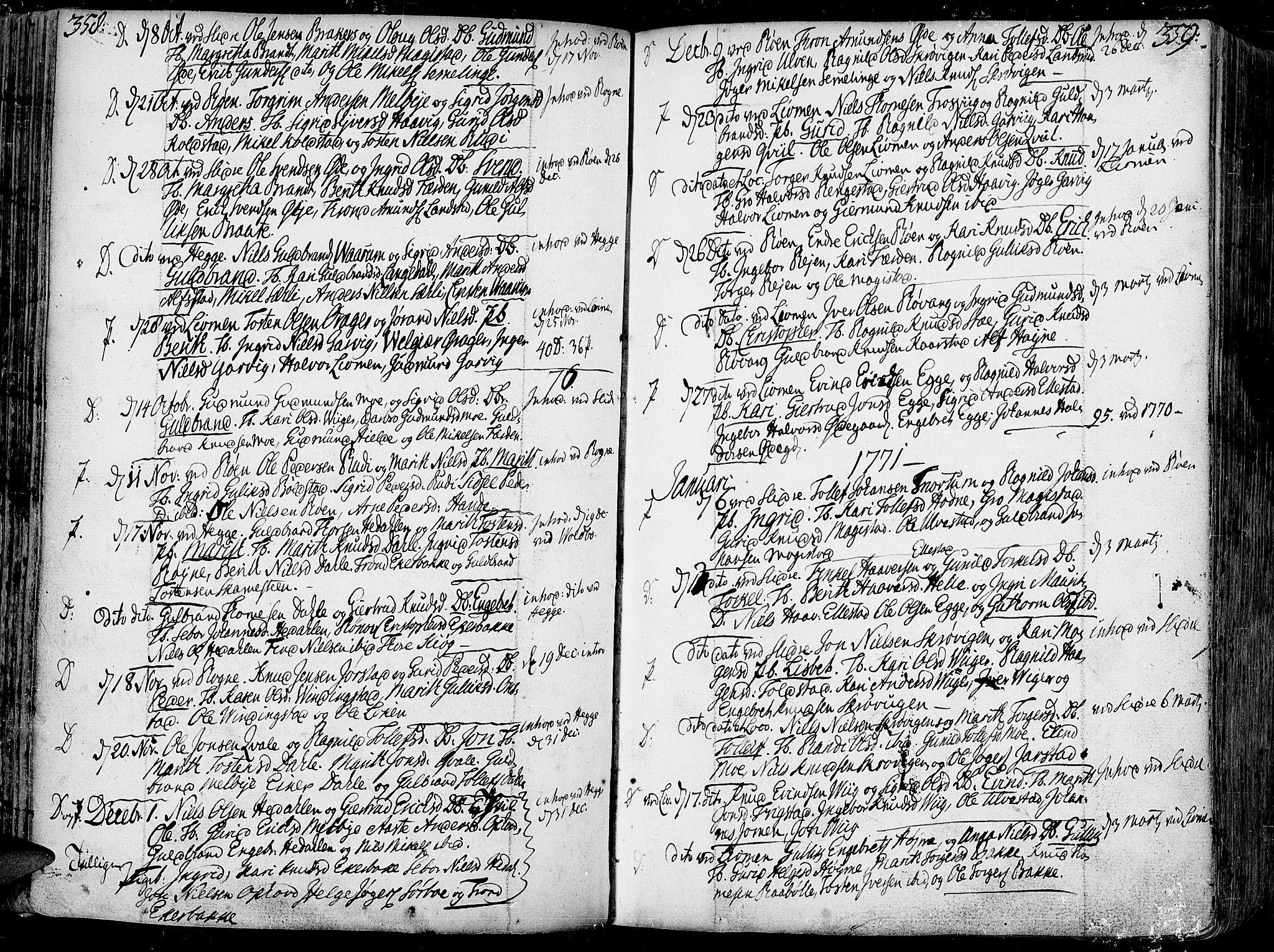 SAH, Slidre prestekontor, Ministerialbok nr. 1, 1724-1814, s. 358-359