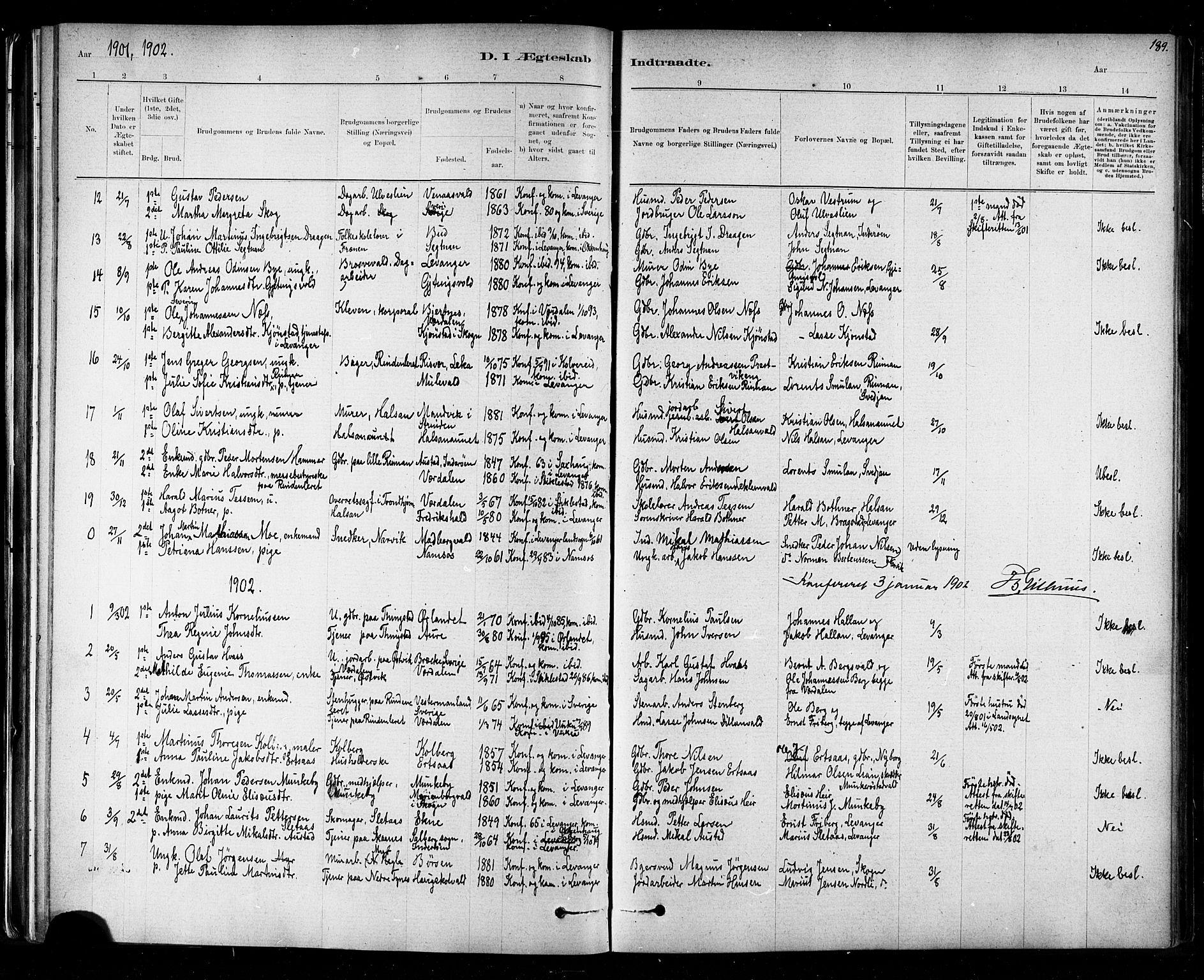 SAT, Ministerialprotokoller, klokkerbøker og fødselsregistre - Nord-Trøndelag, 721/L0208: Klokkerbok nr. 721C01, 1880-1917, s. 189