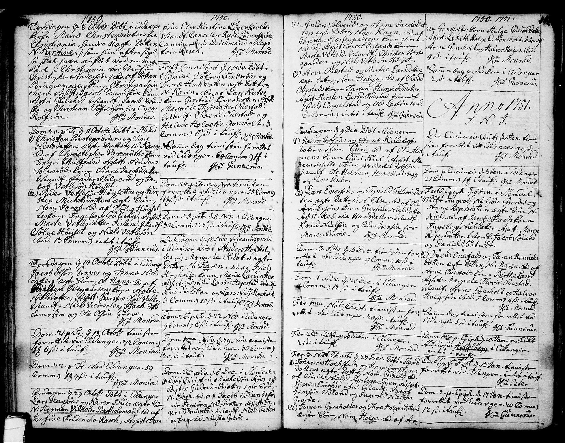 SAKO, Eidanger kirkebøker, F/Fa/L0004: Ministerialbok nr. 4, 1733-1759, s. 150-151
