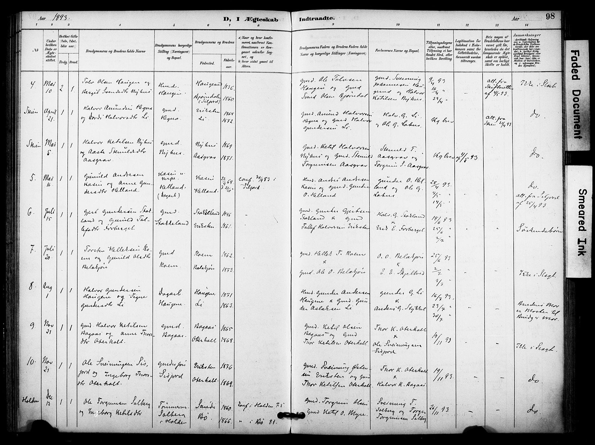 SAKO, Bø kirkebøker, F/Fa/L0011: Ministerialbok nr. 11, 1892-1900, s. 98