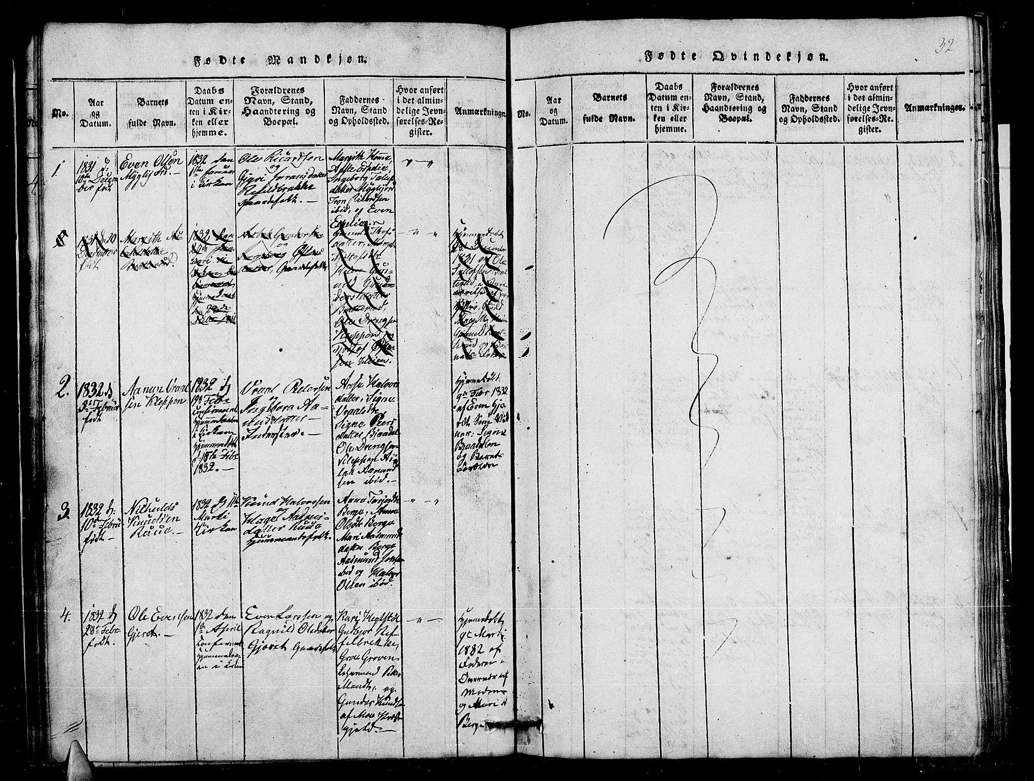 SAKO, Lårdal kirkebøker, G/Gb/L0001: Klokkerbok nr. II 1, 1815-1865, s. 32