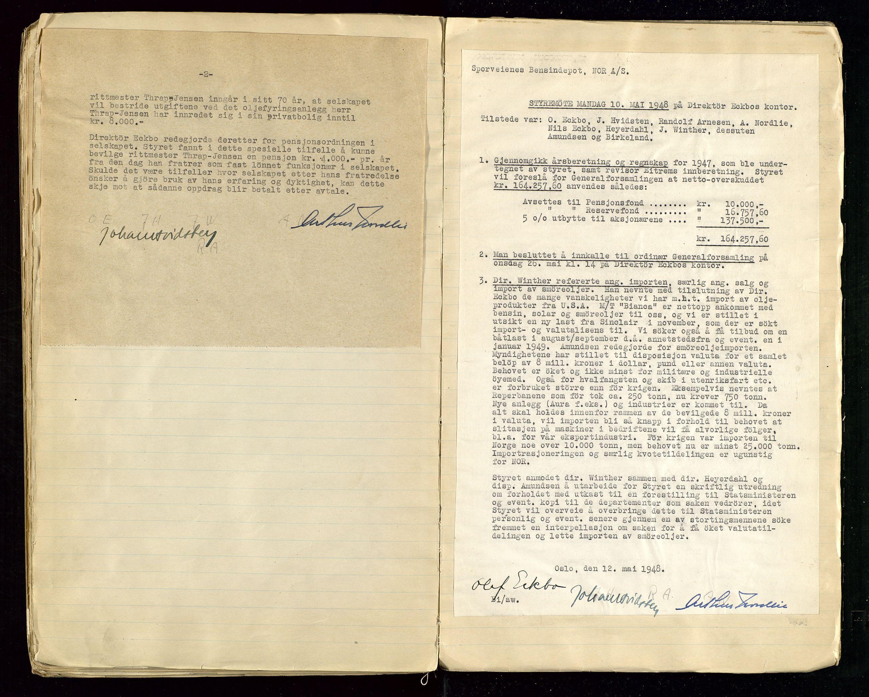SAST, PA 1514 - Sporveienes Bensindepot, Norsk Oljeraffineri A/S, A/L0001: Styreprotokoll. Forhandlingsprotokoll Arbeidsutvaget, 1932-1949, s. 104